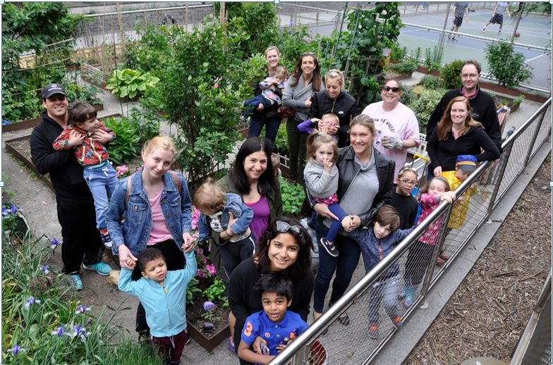 BPC Nursery School kids and parents planting on May 20th