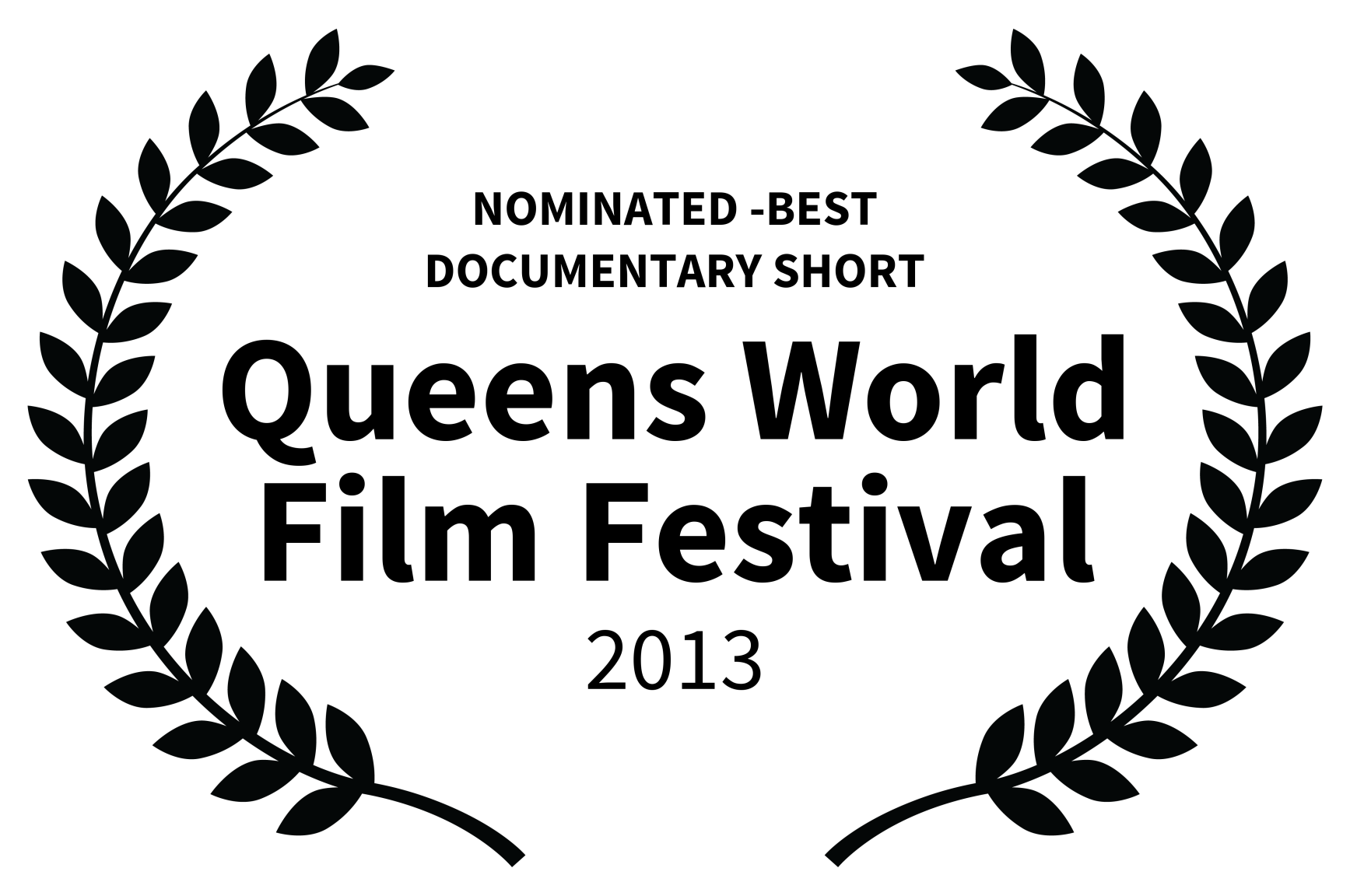 NOMINATED -BEST DOCUMENTARY SHORT - Queens World Film Festival - 2013.png