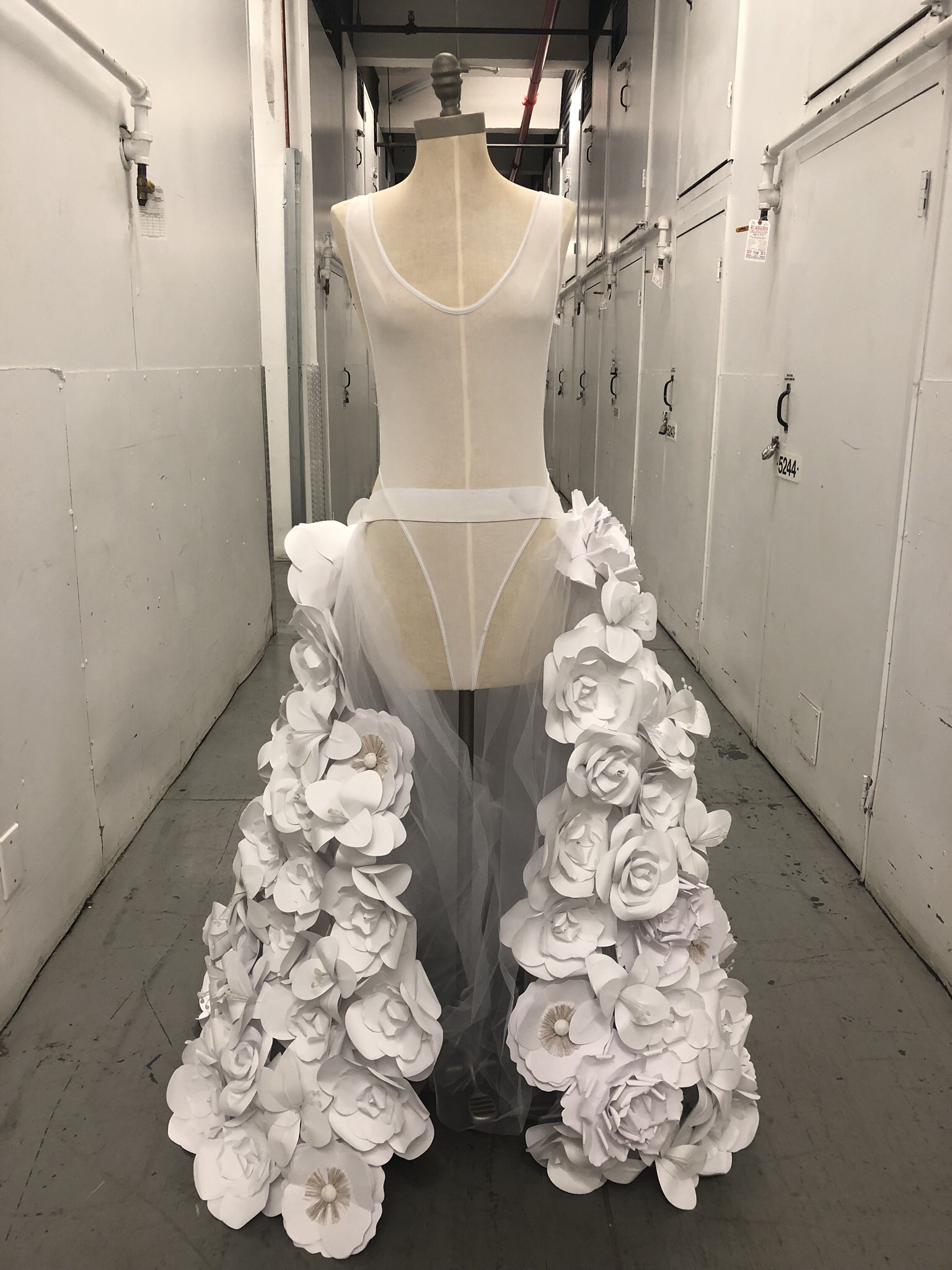 Flower dress. Note- mostly sheer fabric for model 5'4-5'9