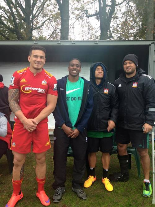 Will with Sonny Bill Williams, Tim Nanai Williams & Leon Fukofuka