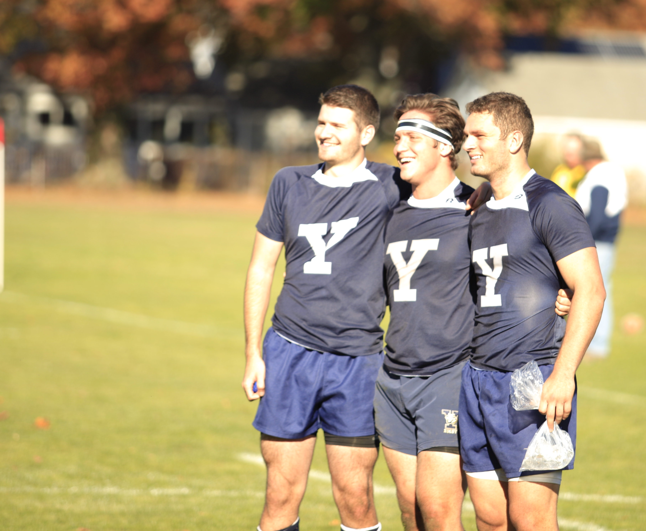 Alex Petrillo (left), Bryan Herbert (centre) and Charlie Hill (right) enjoy a moment after the Columbia victory. Bryan and Charlie were elected Club President and Club Captain respectively for the 2017-18 season.