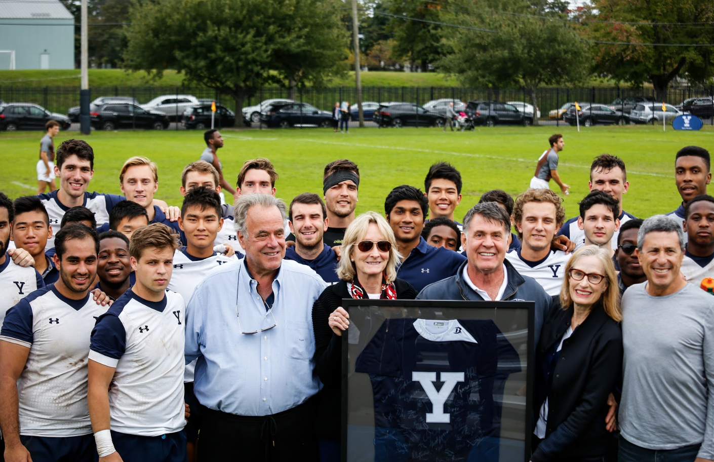 1942 Yale Rugby Captain, Henry P Wheelers family pictured with the Yale Rugby Squad