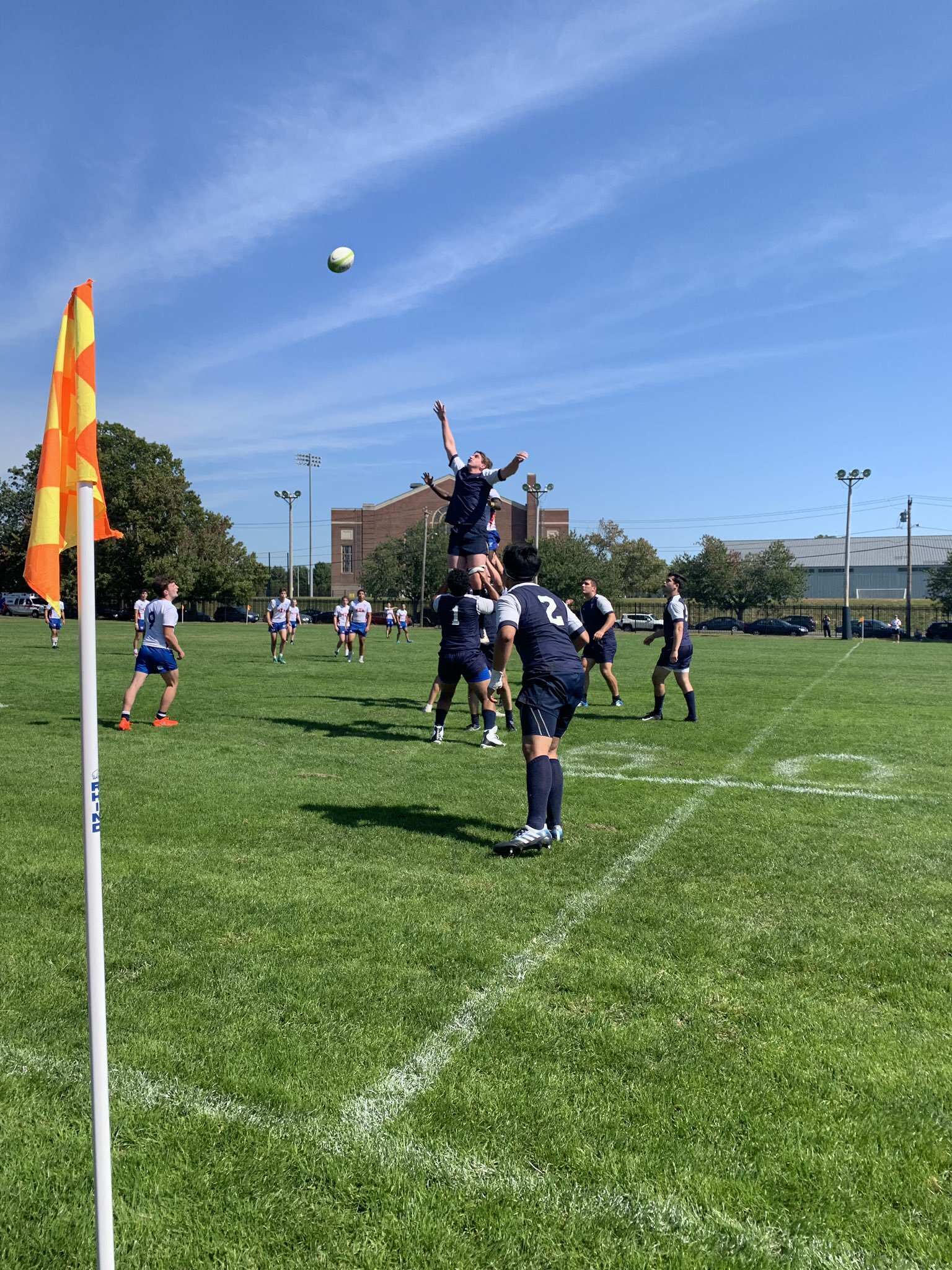 Alex O'Neill '20 competes in the air at a line out.