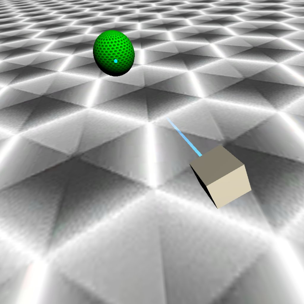 The VR Hand Controller is simulated by a cube with a laser. The laser from the cube has hovered upon a sphere and has toggled a color to denote selection for grabbing.