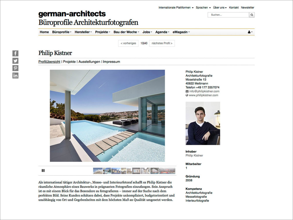Mein Profil als Architekturfotograf bei der Plattform German Architects.