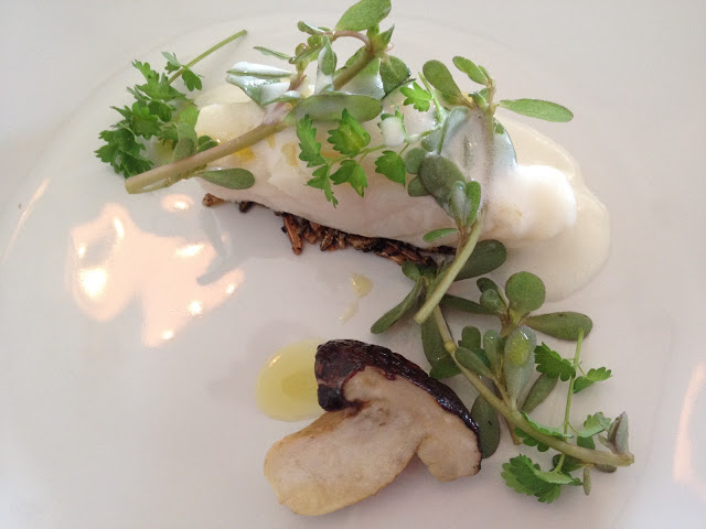 Halibut in poached Whey and Porcini