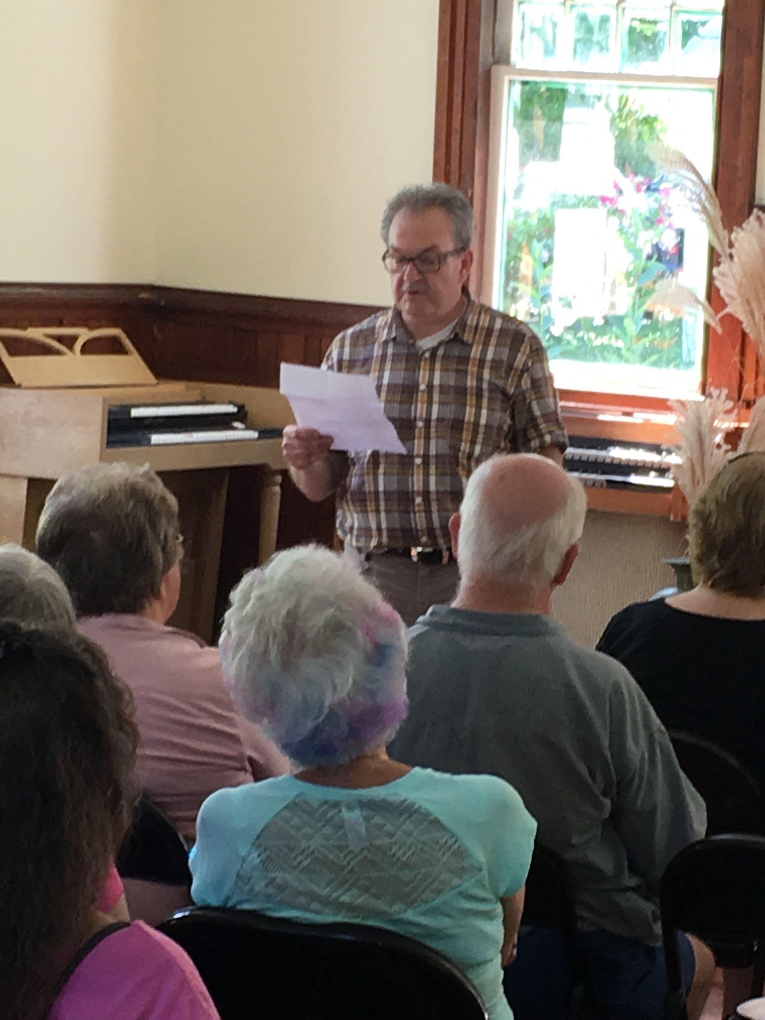 "Colin Harrington reading his poem ""East WIndsor Chapel"""