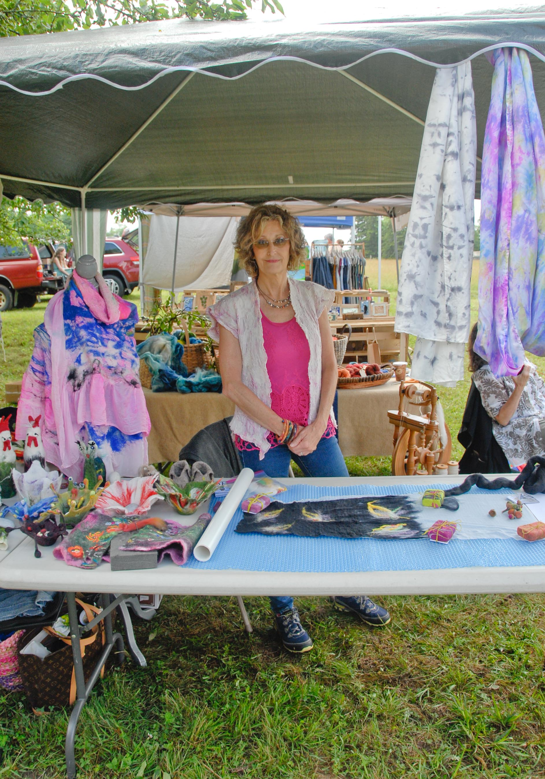 Debbie Drumm and her Silk Dyeing & Nuno Felting Exhibit