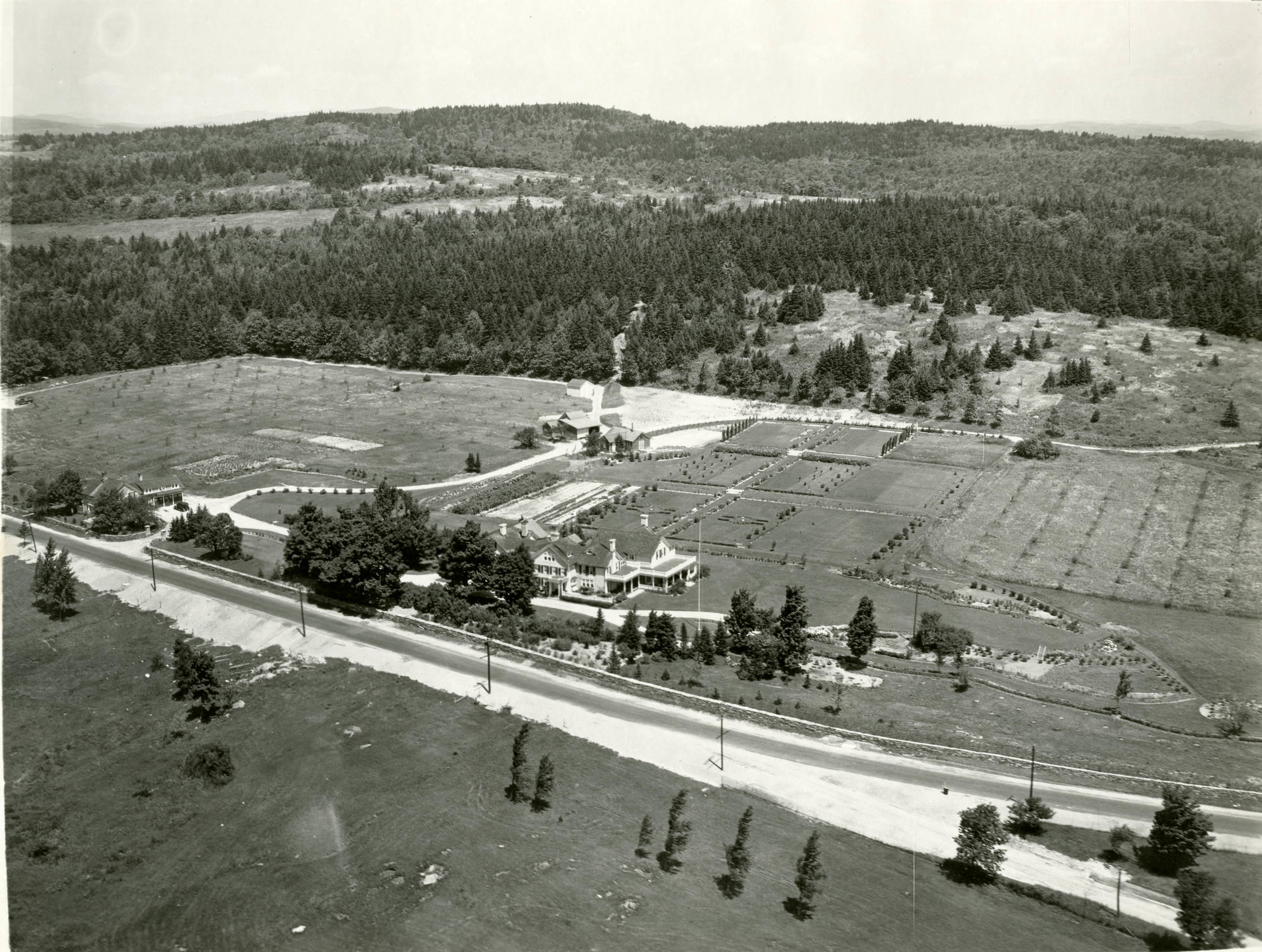 Undated aerial view of Helenscourt grounds [Photo from the Arthur D. Budd Papers, The Trustees of Reservations, Archives & Research Center]
