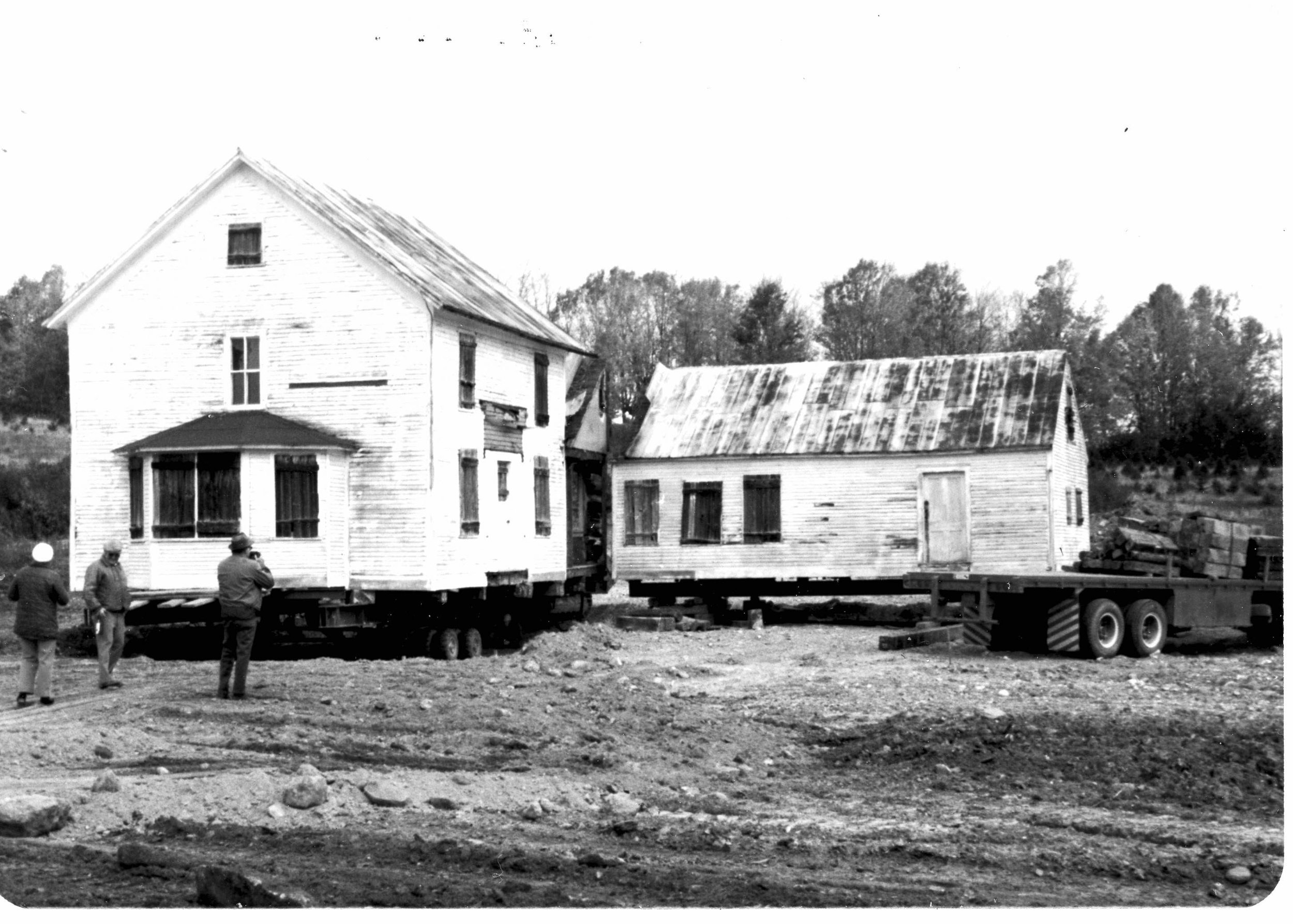 "The Steward Homestead, in 1975, being moved to its current location as Windsor's ""new"" historical museum [Photo from Bernie Drew's ""A History of Notchview,"" published in 1986]"