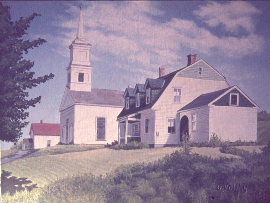 Windsor Congregational Church and Parsonage, painted by Olive Volsky