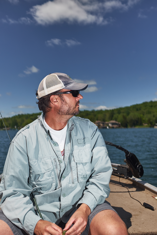 Men fishing on a lake in Indiana