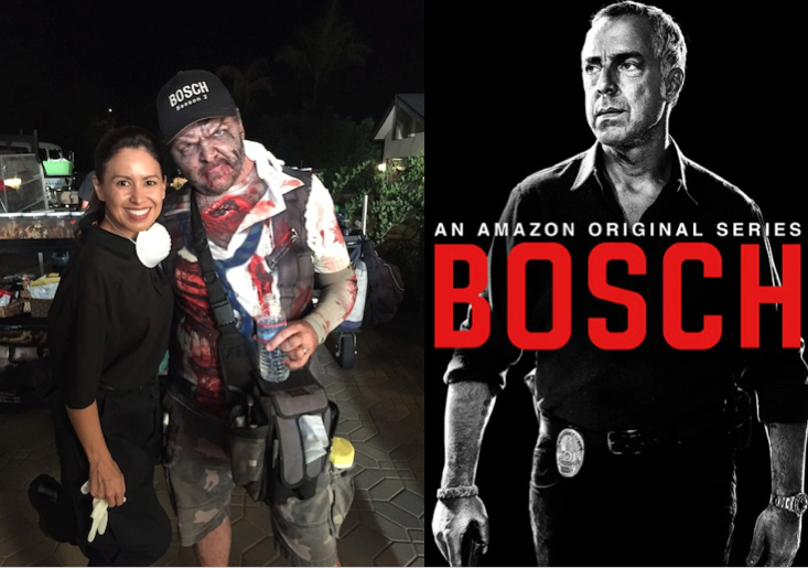 'm thrilled to be on Amazon's Season 2 of Bosch, - Ithe show is sooooo good I binged watched the first season. Look for me on Episode 8 as Crime Scene Tech Drake!Oh yeah, the zombie i'm standing next to...well it was Oct 30th and crew was having fun before Halloween.