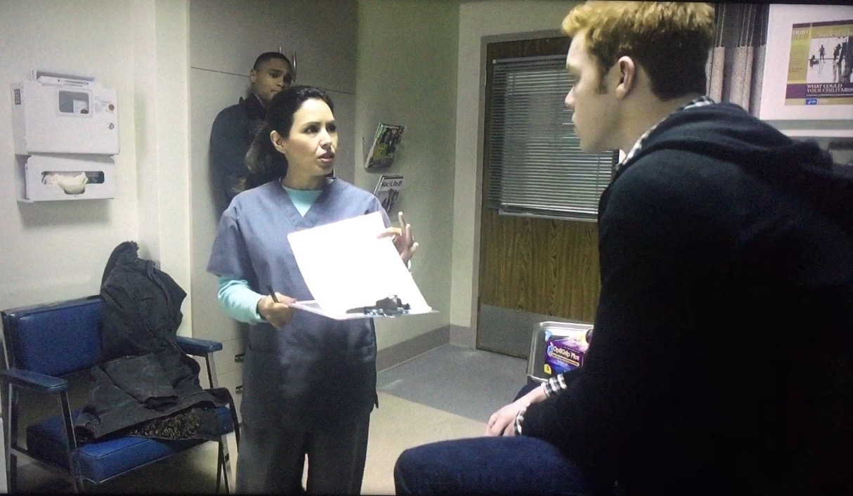Showtime's 'Shameless' season 6.  Nurse Edmonds (Kikey Castillo) with Cameron Monaghan