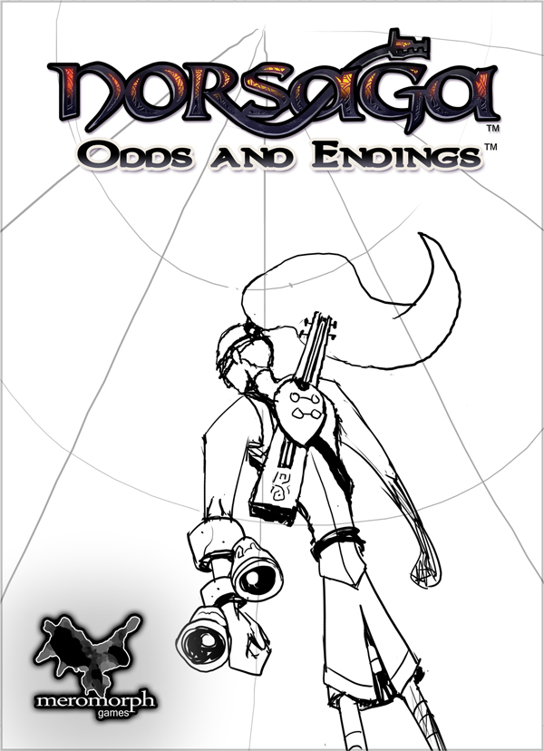 First boxart sketch, demonstrating early character design and point-of-view facing the upper left.Background scene would have eventually featured a warring god and ettin.