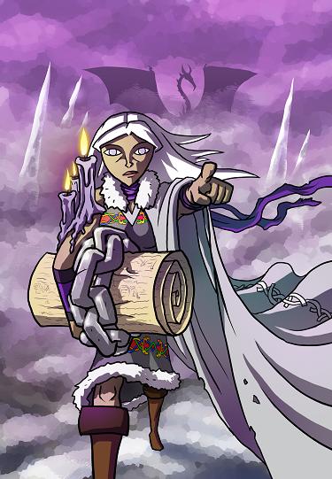 Promotional art for the legend skald, Egretta Greyhame.