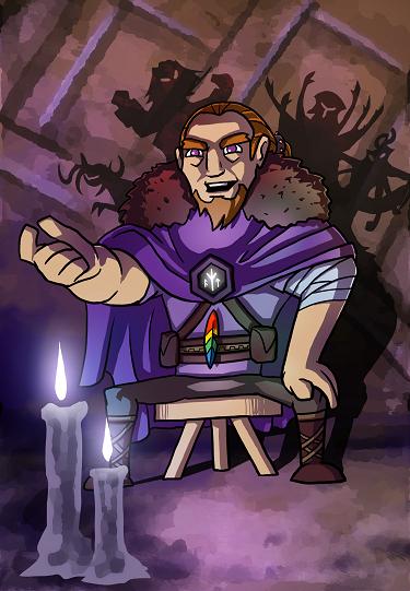 Promotional art for the wanderer skald, Skurl Gylfinning.