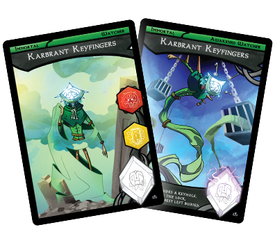 Card art for the green immortal watcher, Karbrant Keyfingers.