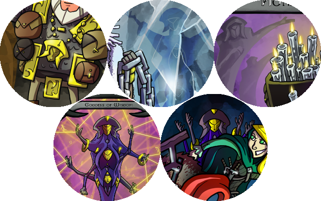 Clockwise from top left: Vast Hlodver, Beomund Icebrook, Honest Gwen, the Norwife's saga, and the  Norsaga  base game boxart. The Norwife appears in each.