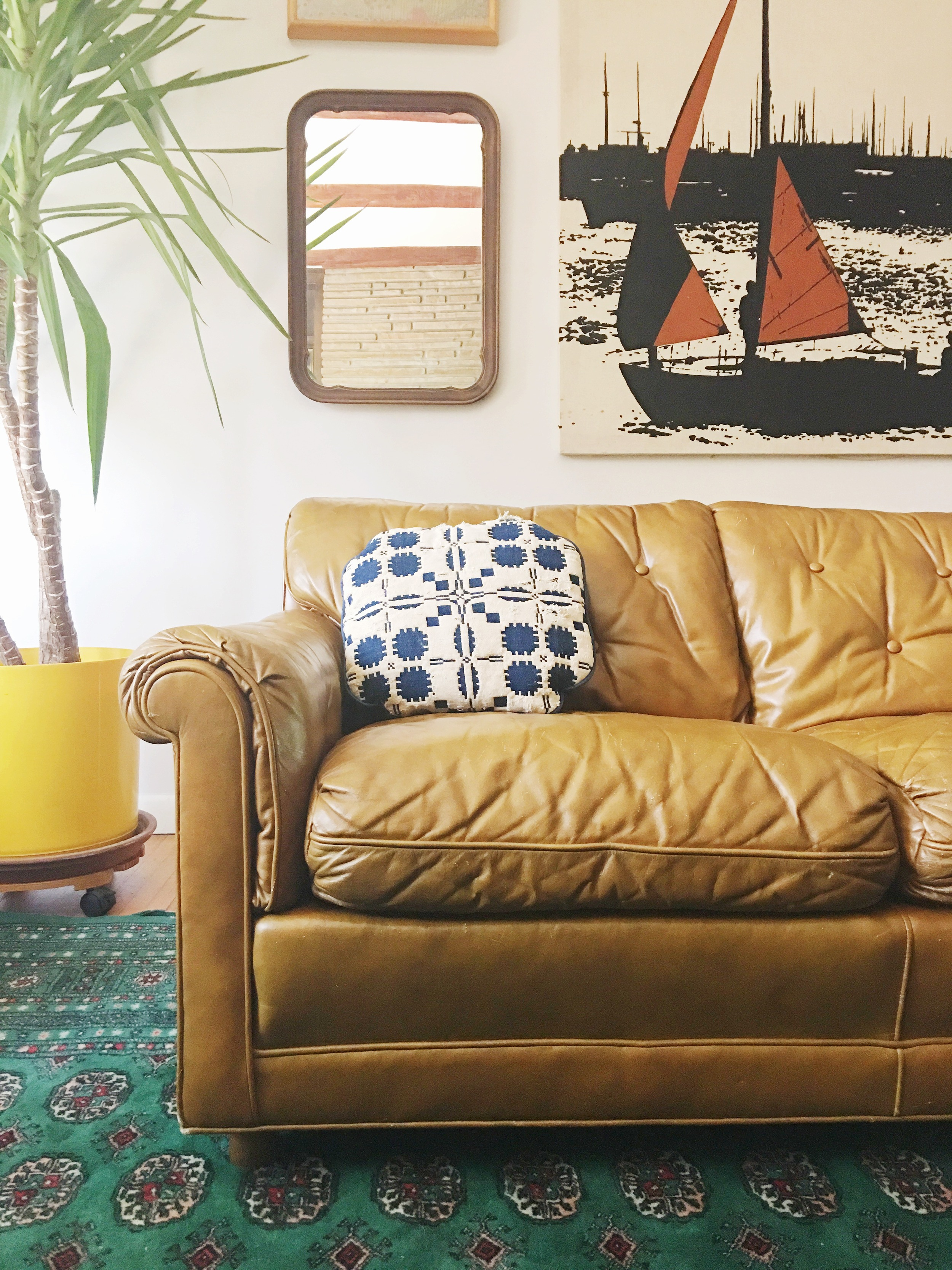 Camel Tufted Leather