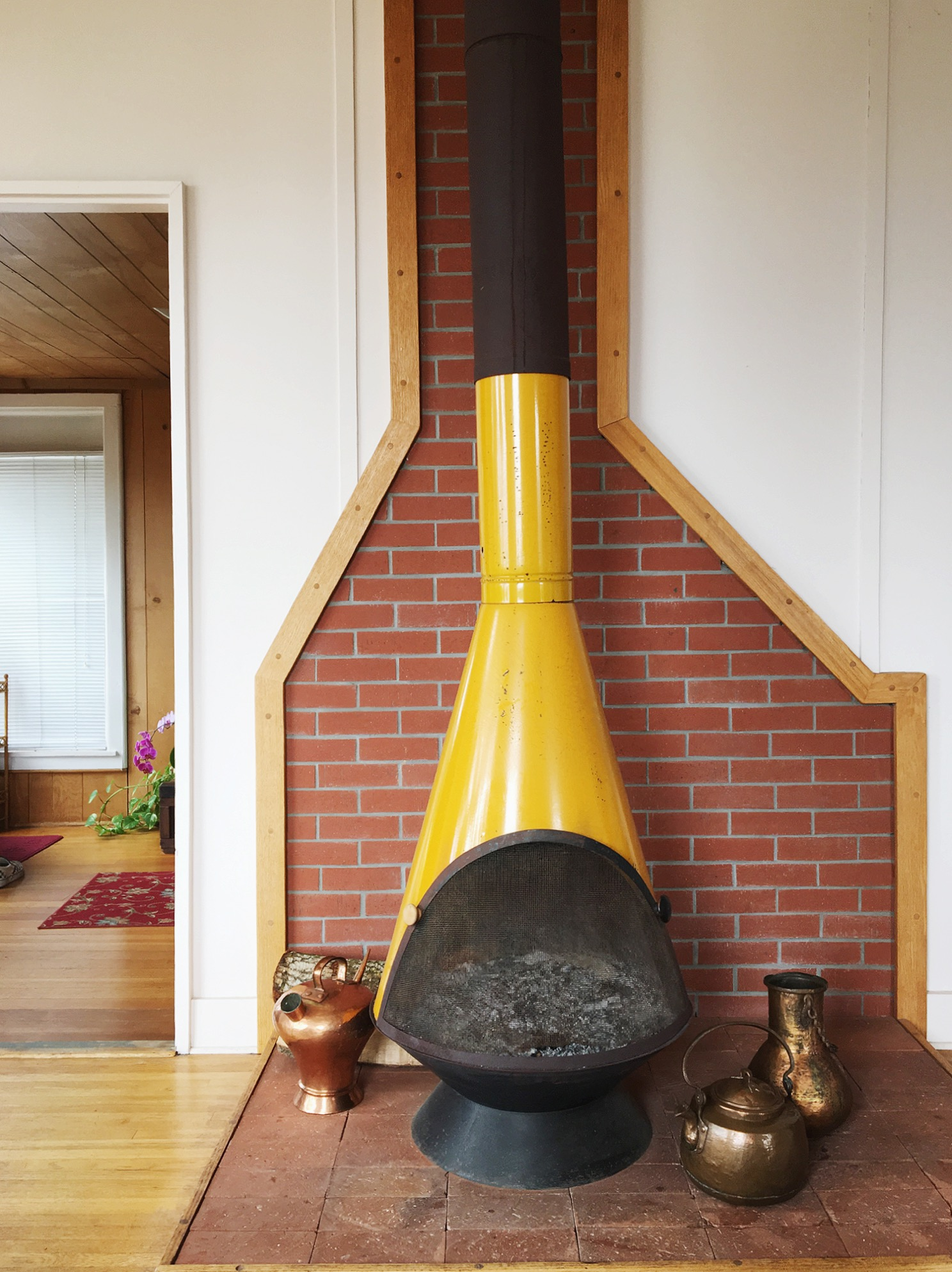 Mid Century Modern Enamel free standing fireplace