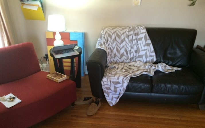 Living Room: Before–New Layout, Original Furniture