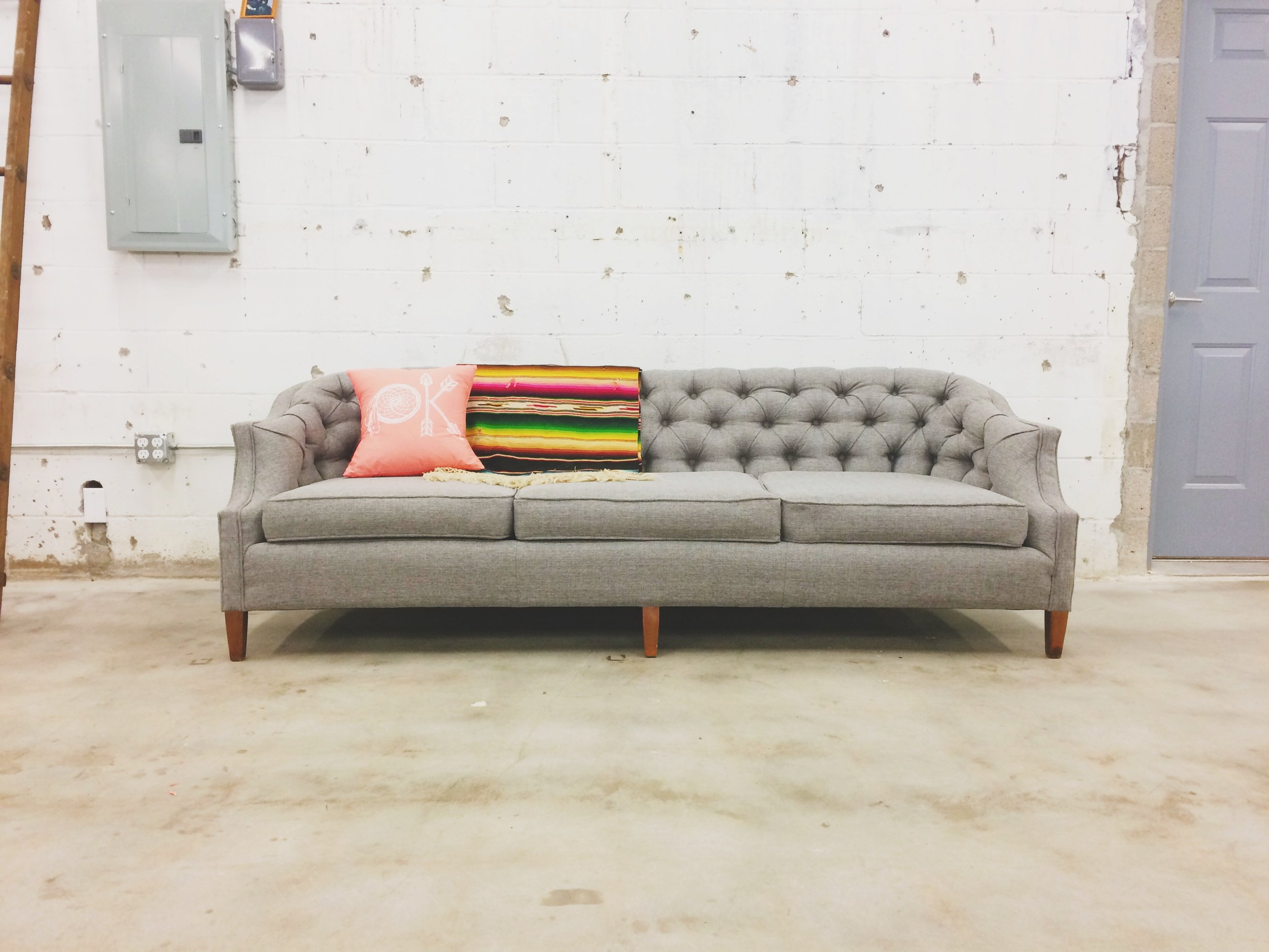 Before After Vintage Tufted Sofa