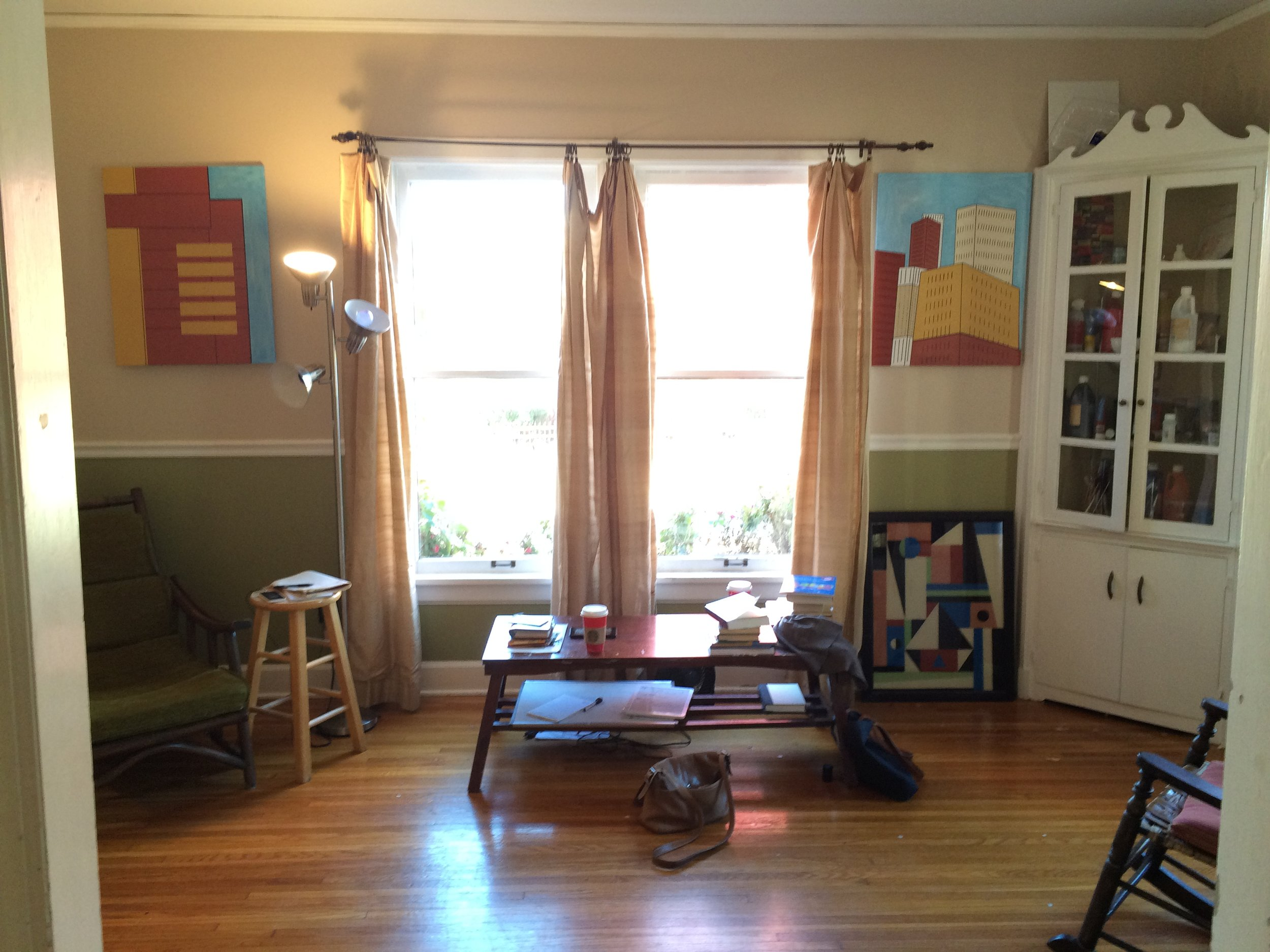 Our client's sunroom before decluttering