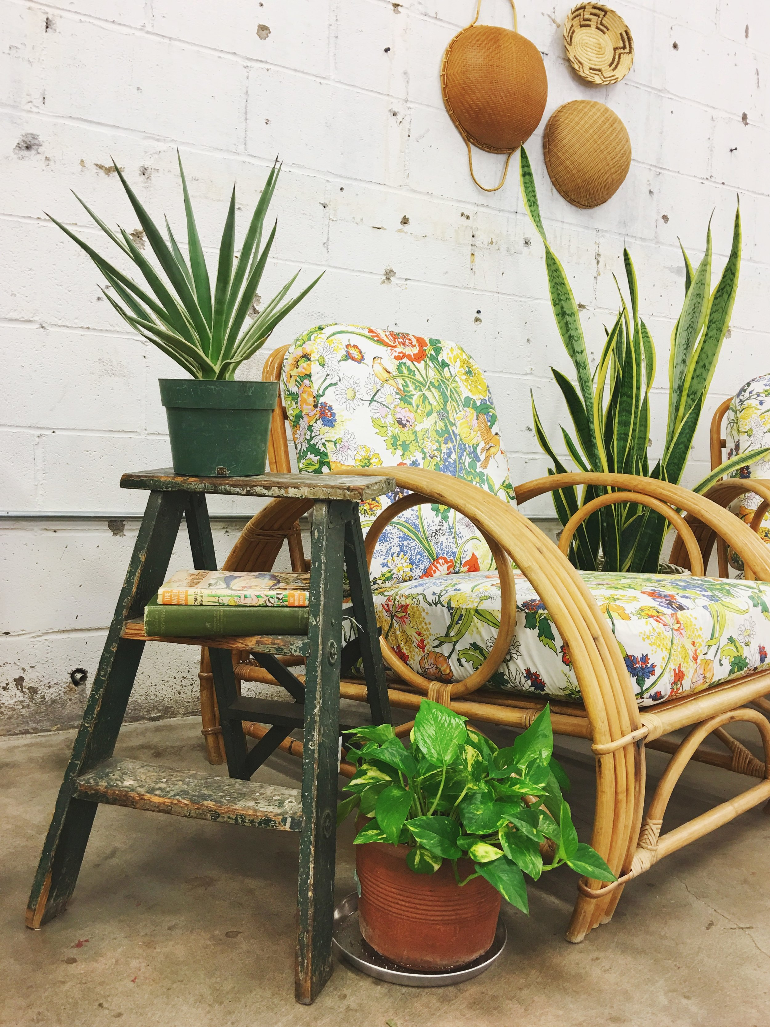 rattan chairs floral