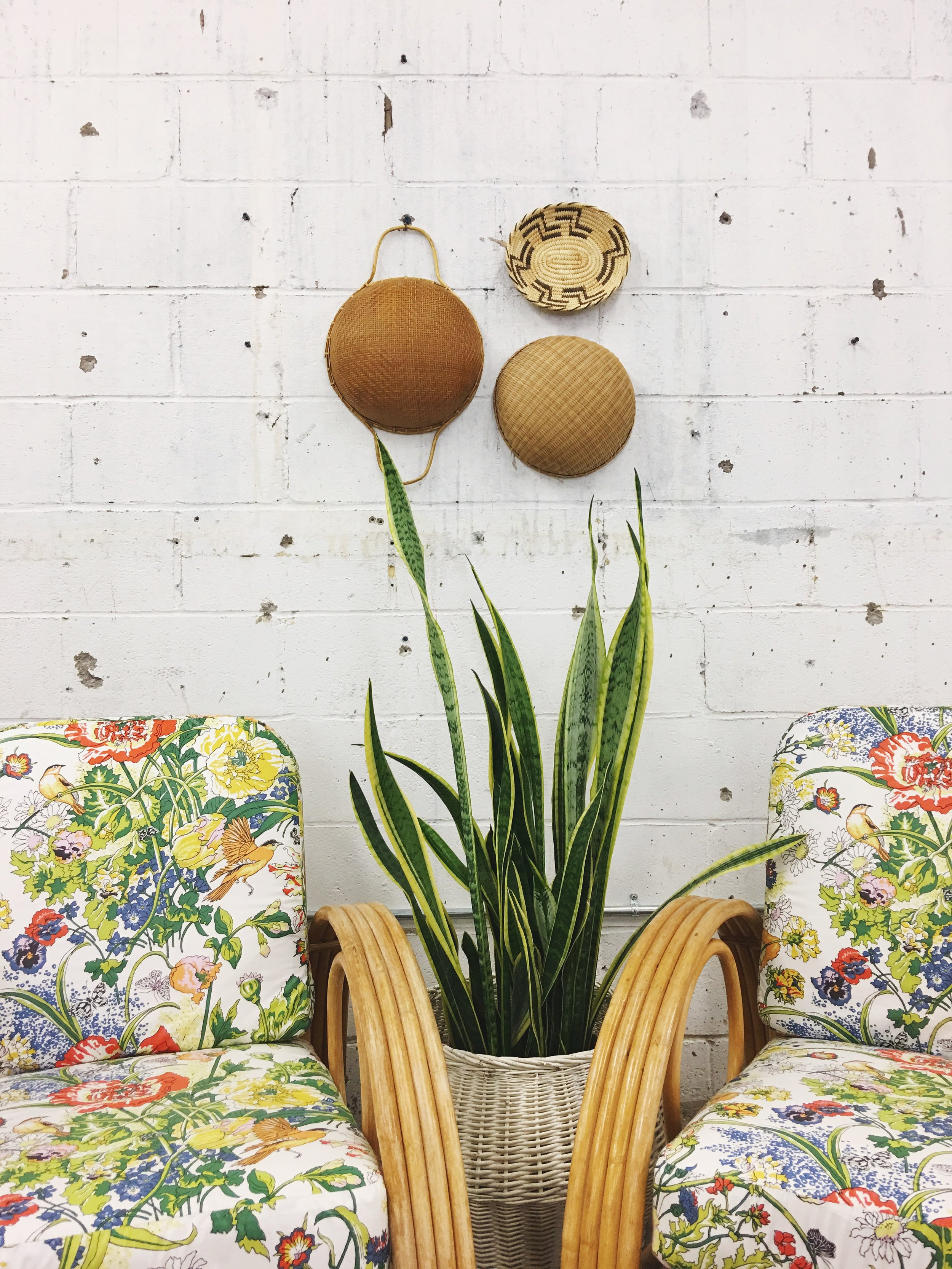 vintage bamboo chairs reupholstered