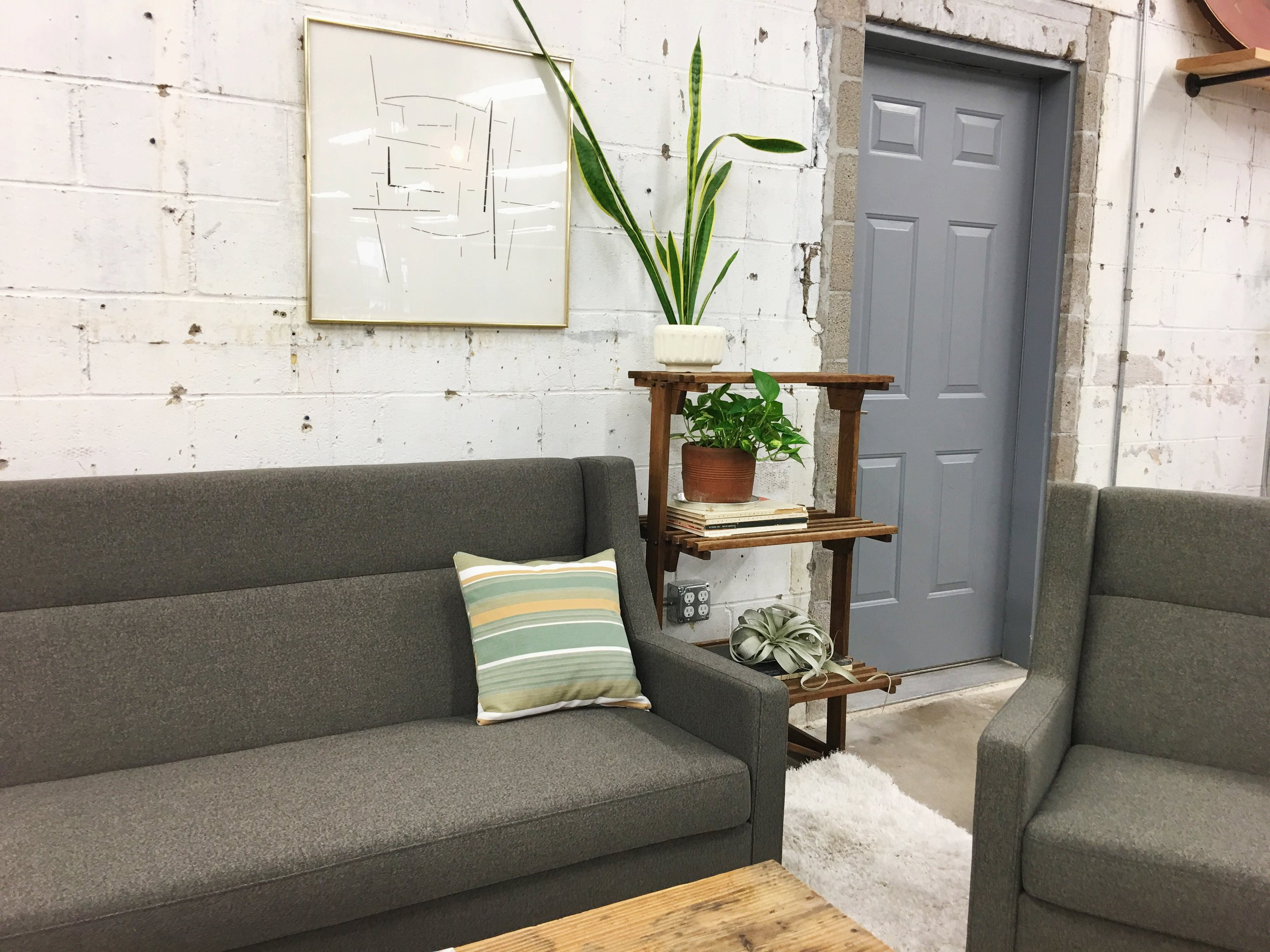 The  Gus* Modern Carmichael sofa and chair  are both available to order through our shop in multiple fabrics.