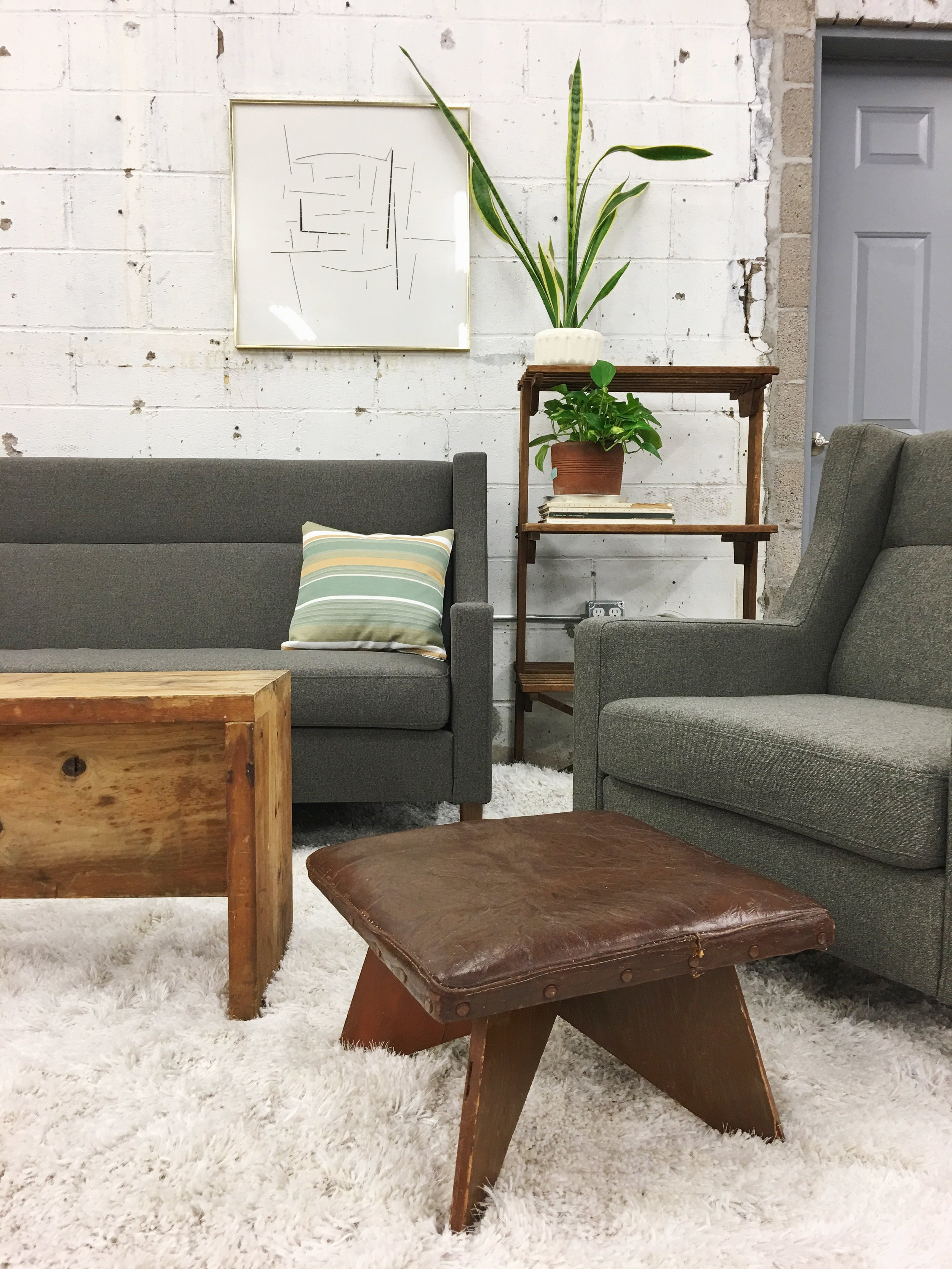 leather vintage foot stool rustic modern