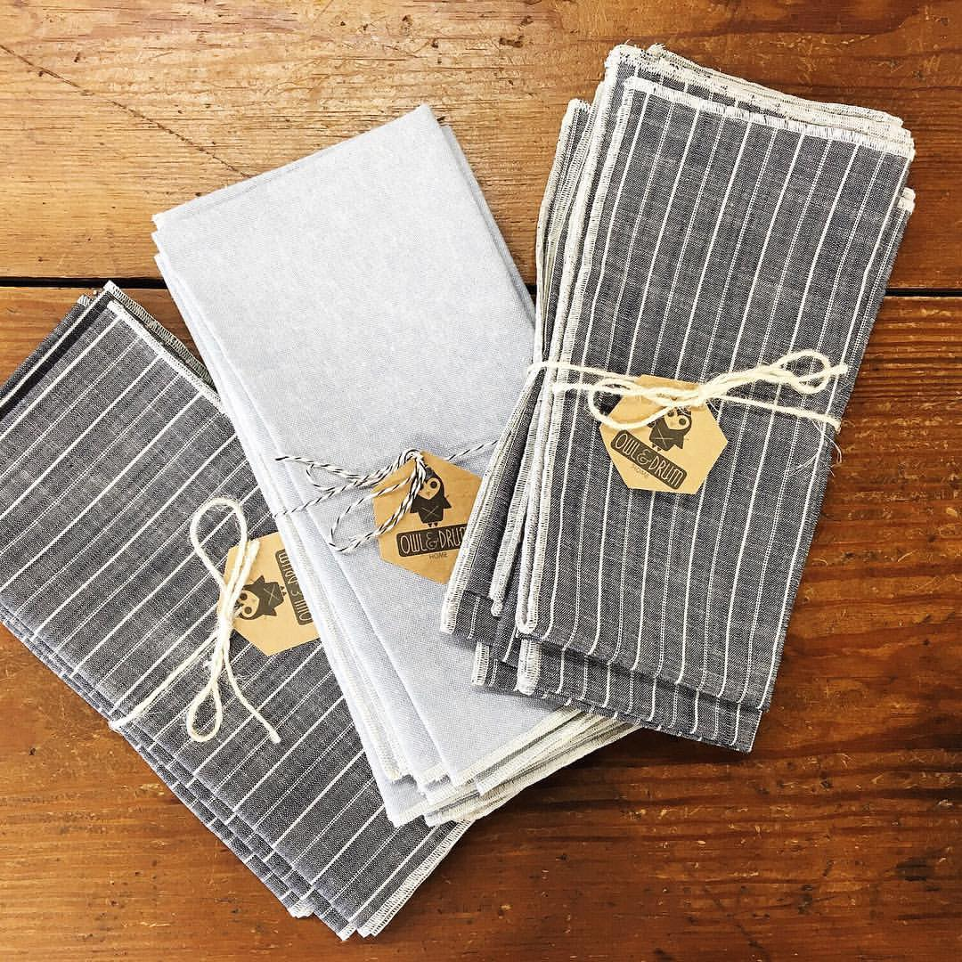 Some oh-so-nice-on-your-face napkins handmade by Bianca for sale in our shop!