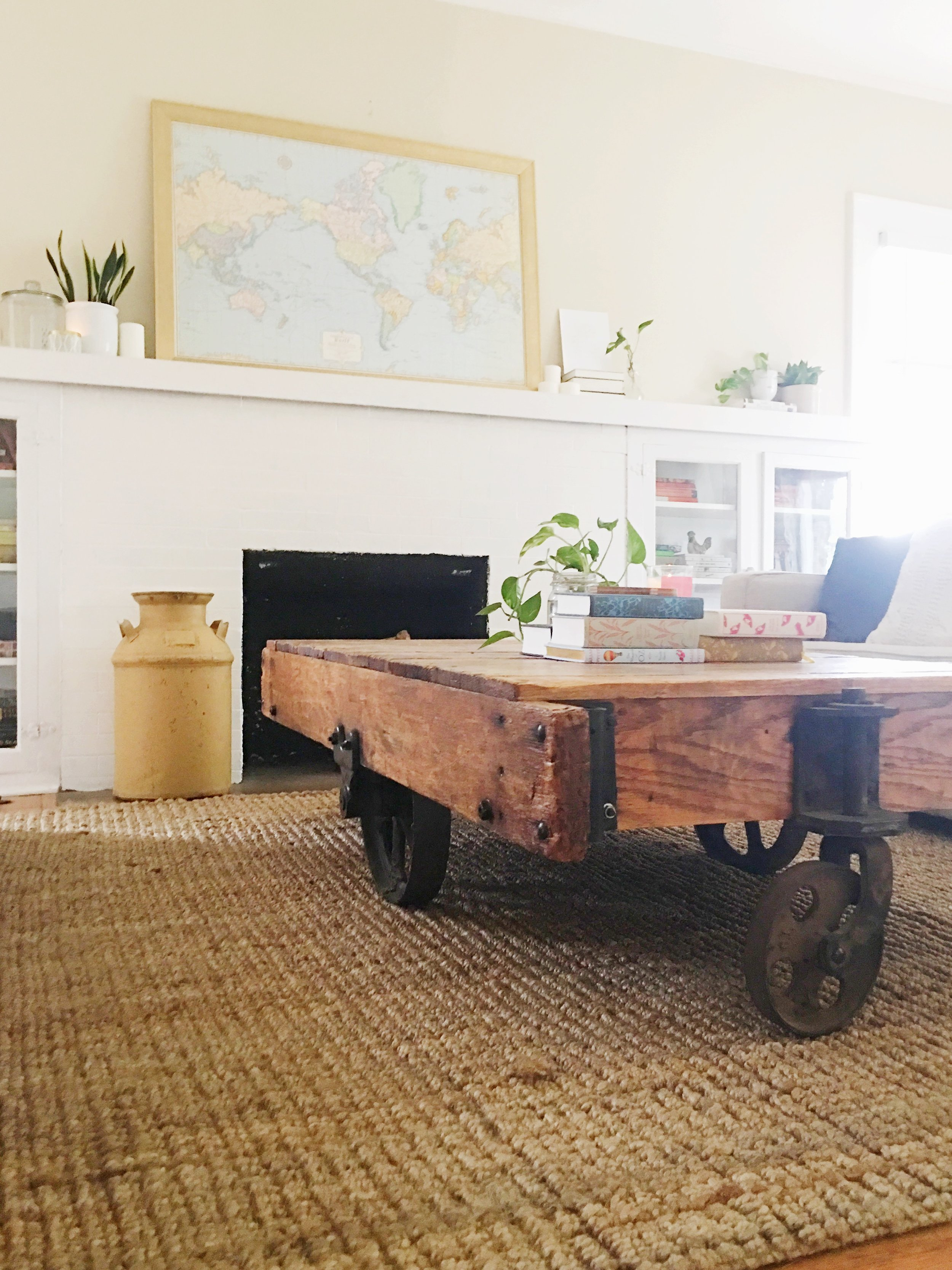 jute rug + vintage trolley cart
