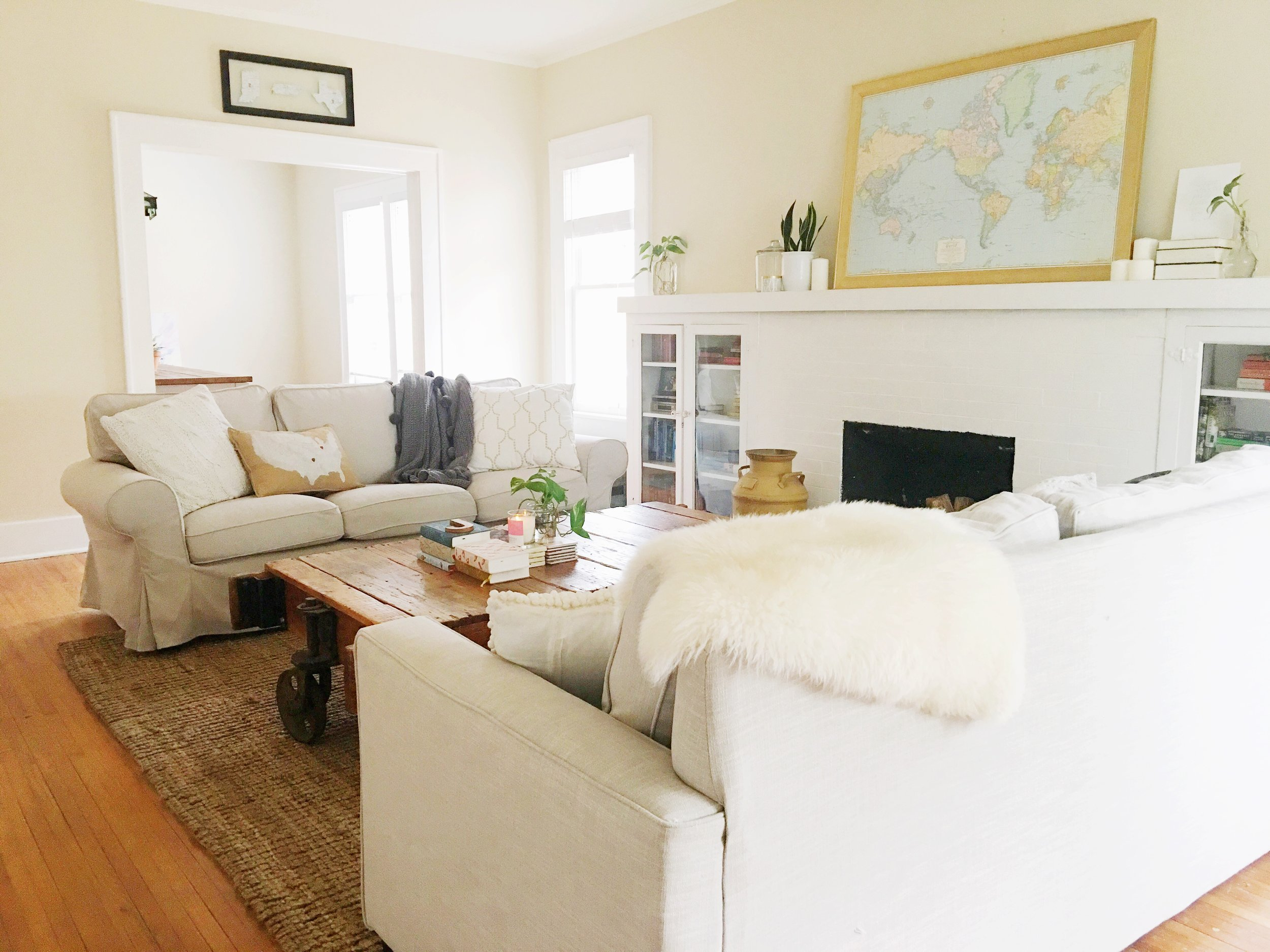 modern eclectic neutral living room