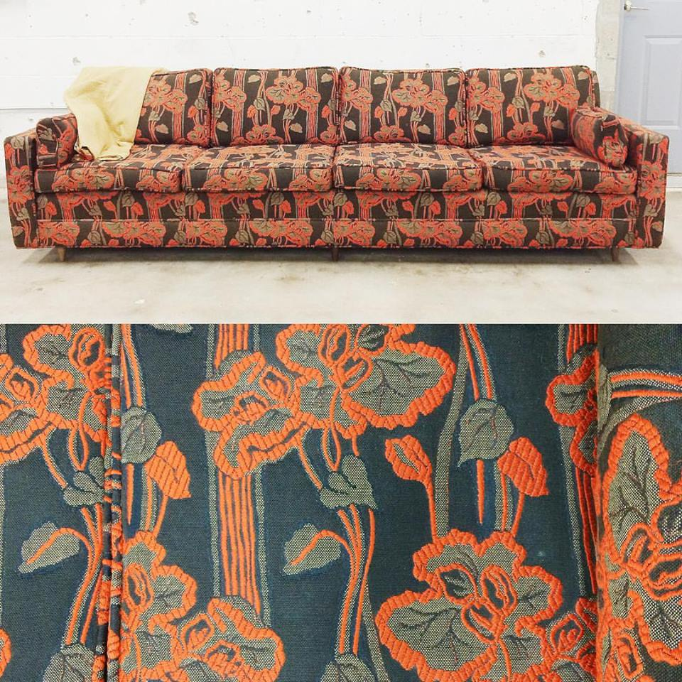 You may not be able to tell from the photo, but this burnt orange and chocolate floral sofa was in pristine condition. We like to wonder what its previous life was like–was it in a parlor where fancy ladies drank wine, but never spilled?