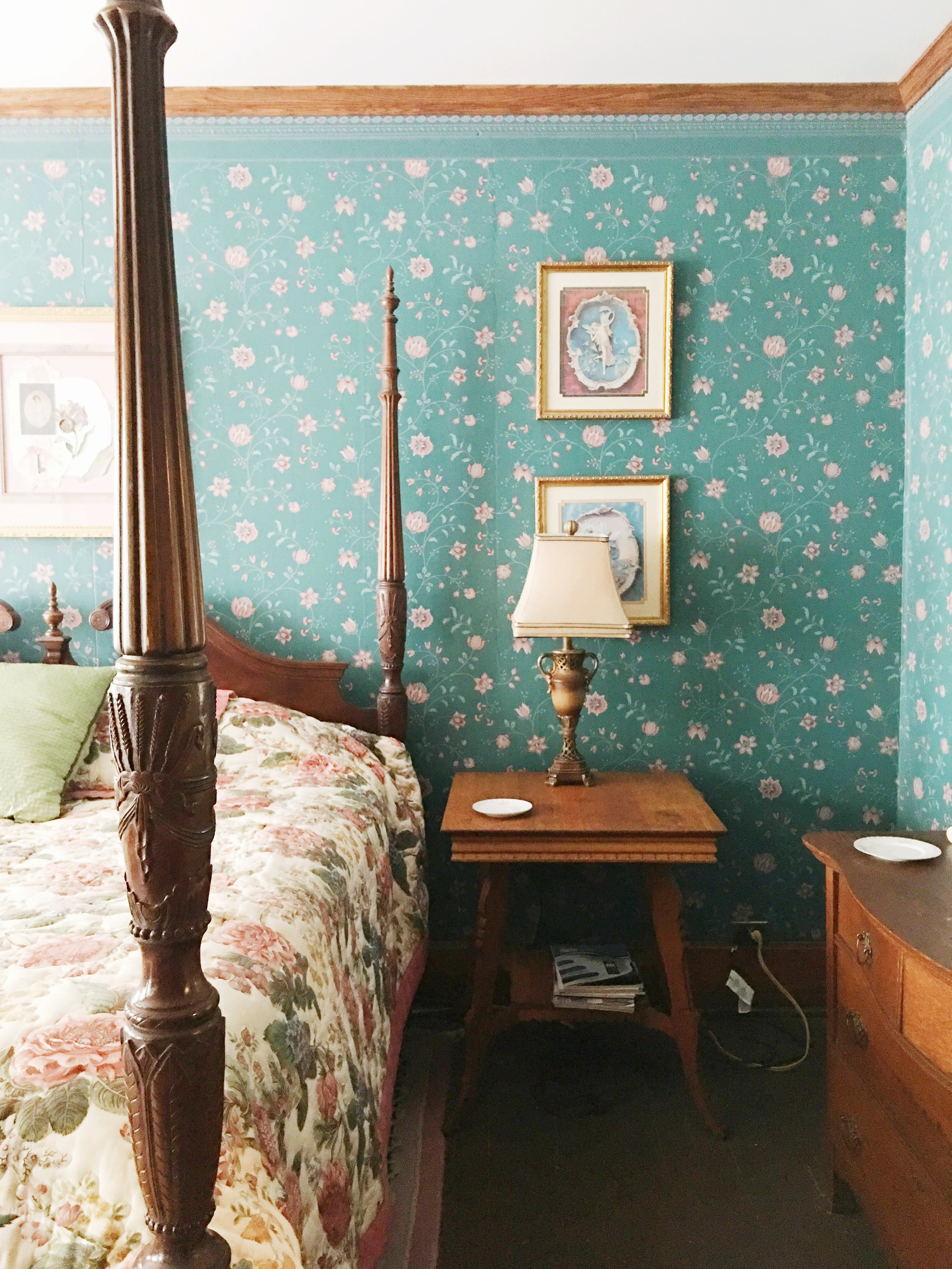 The owner lovingly restored this old funeral parlor and turned it into a bed and breakfast. Some think creepy- Palmer thinks COOL!