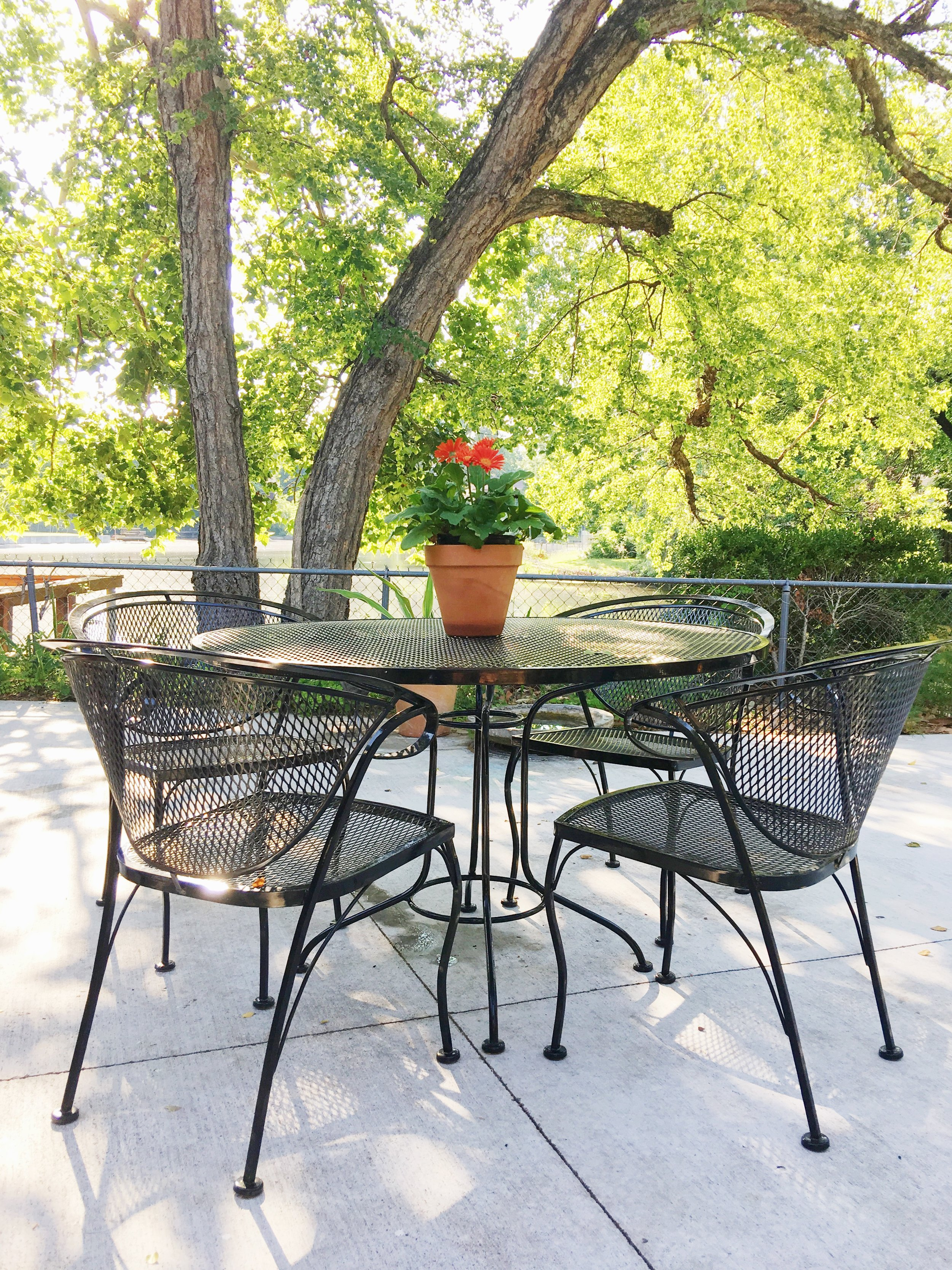 modern outdoor patio black metal dining set