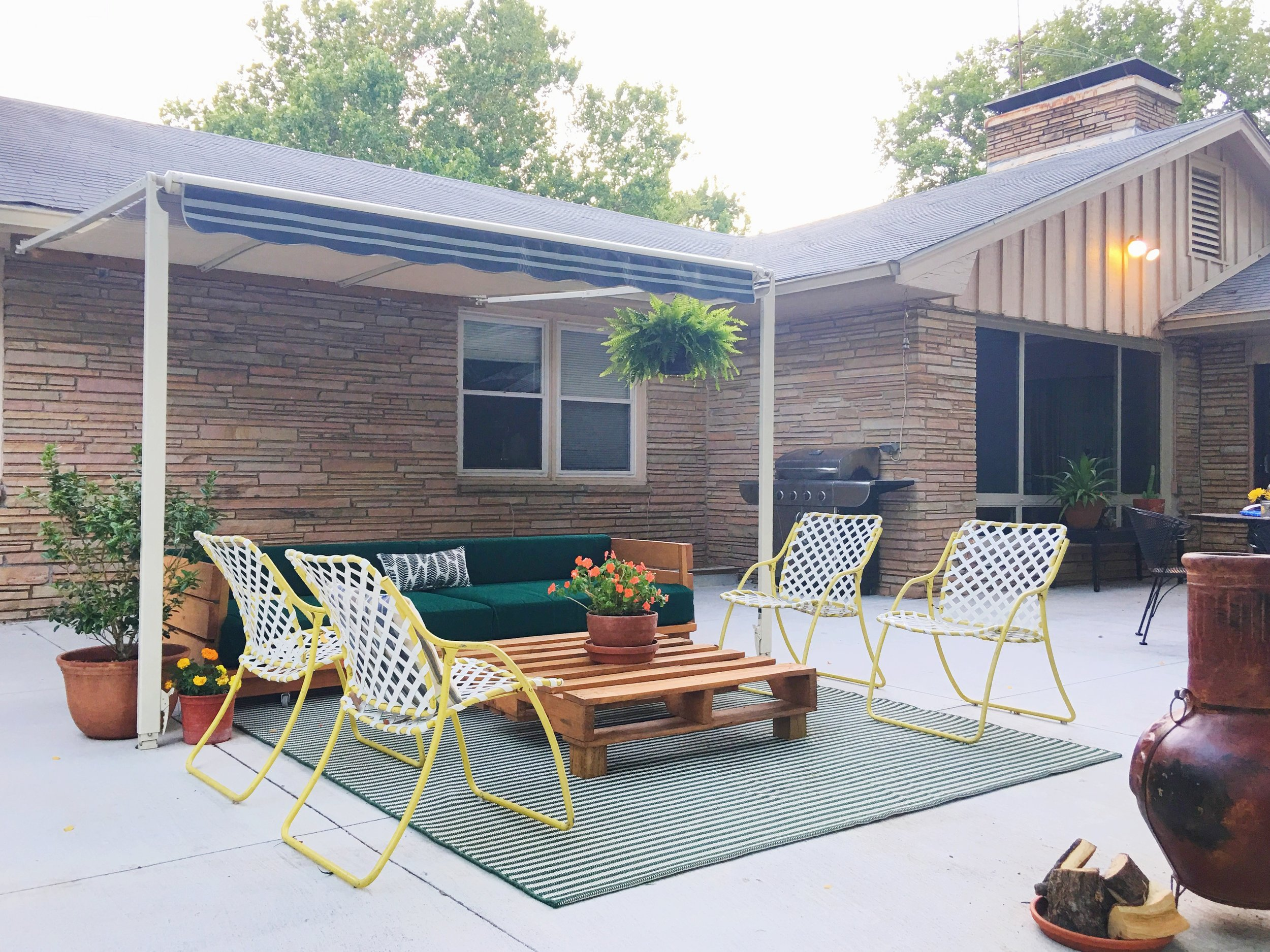 green + peach + orange modern patio colors