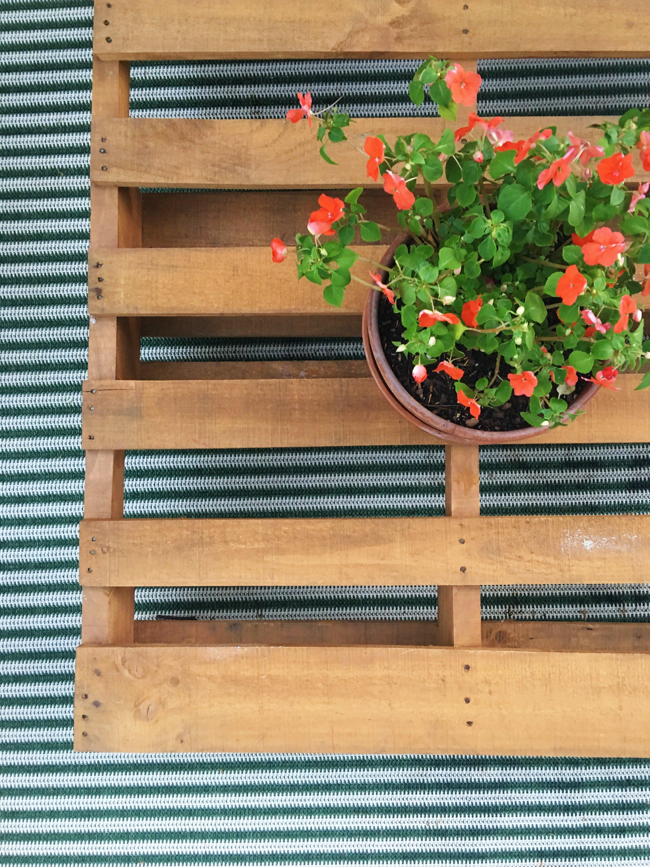 modern patio + striped rug + diy coffee table