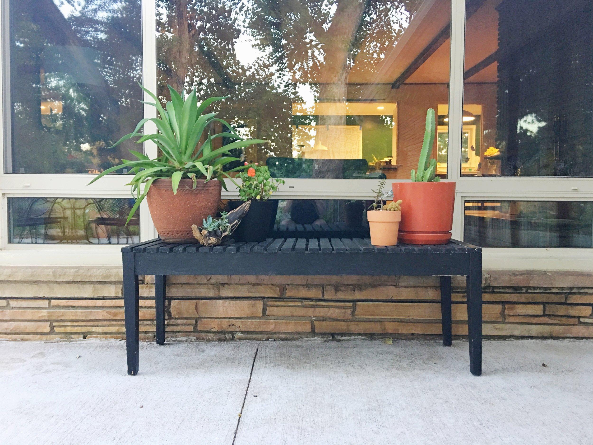 modern slat outdoor plant bench