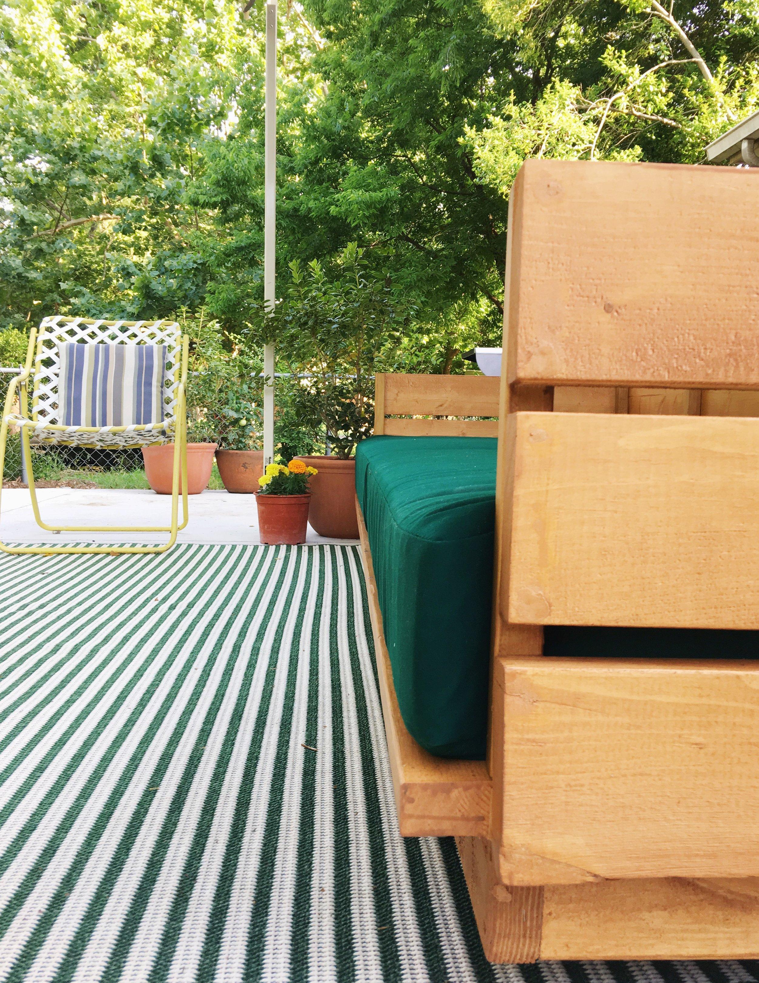 modern green outdoor sofa