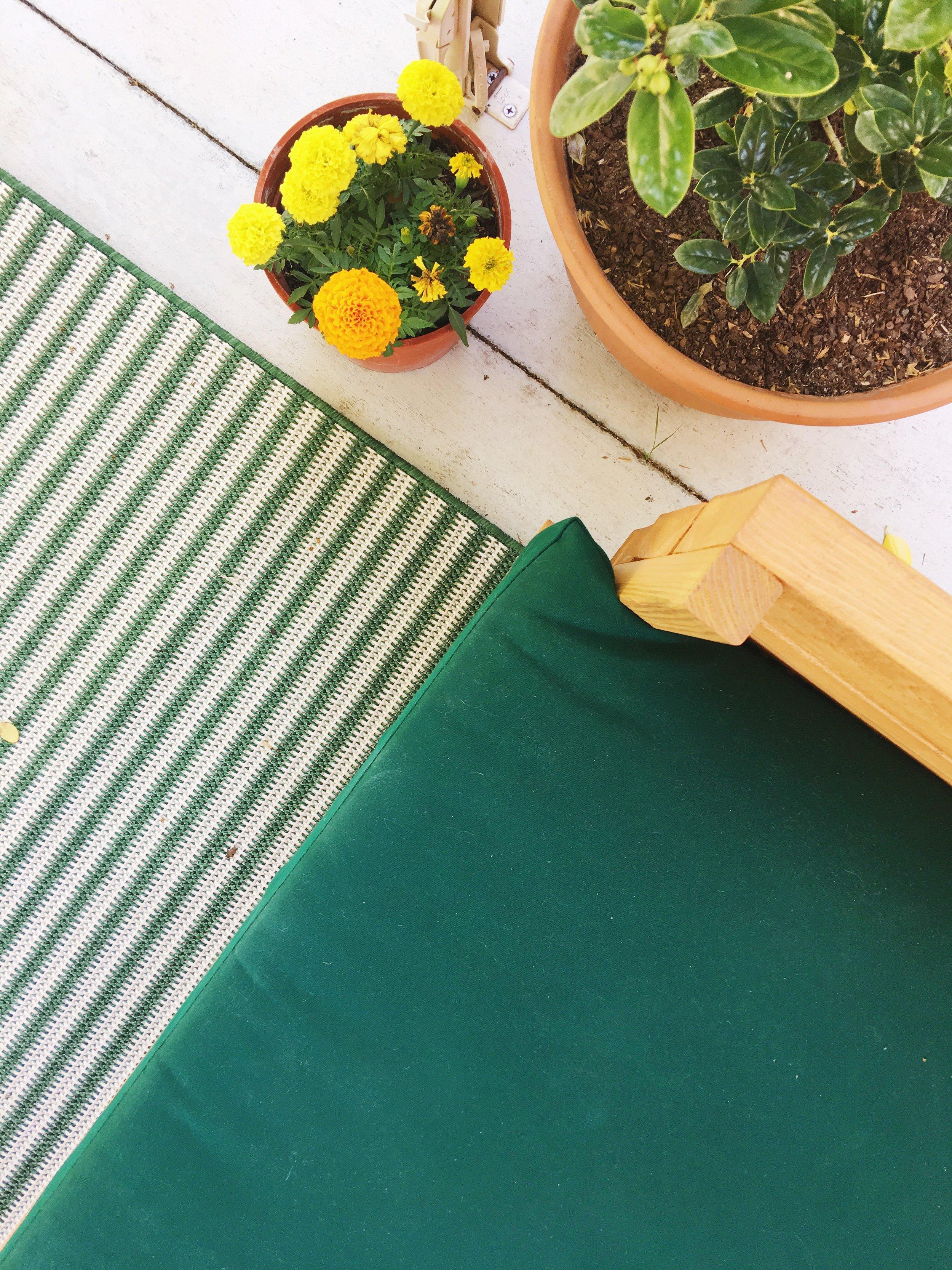 modern outdoor patio green orange
