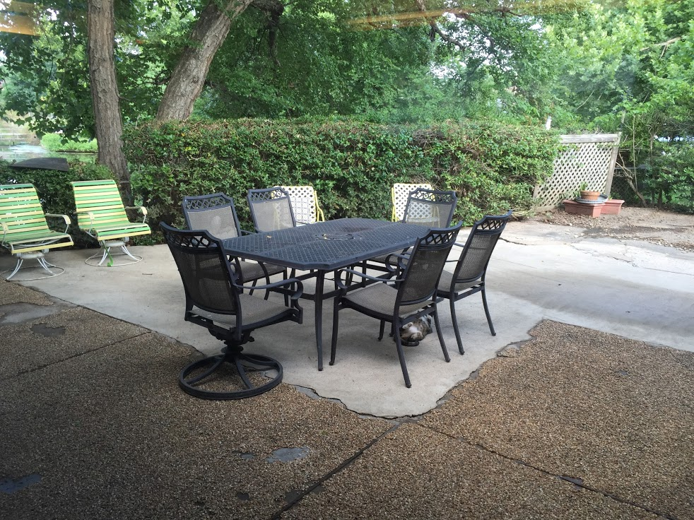 """To show how bad it was, this was an """"after"""" photo after we power washed the patio."""