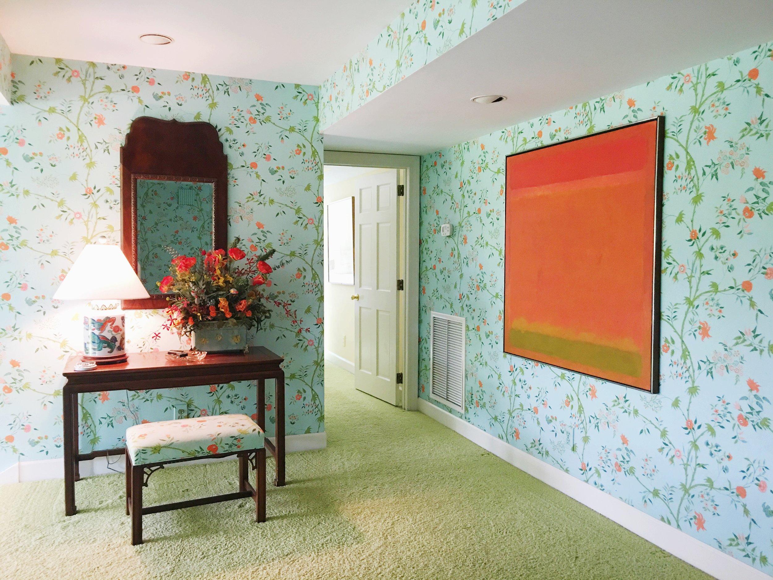vintage beach house floral wallpaper