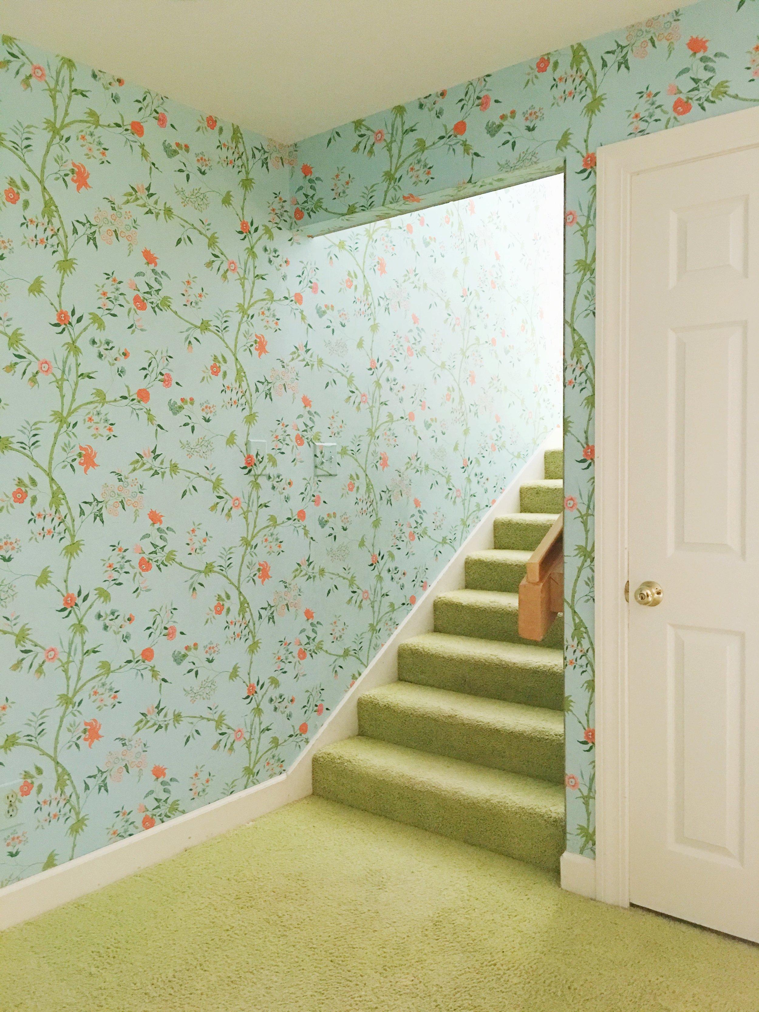 vintage beach house staircase