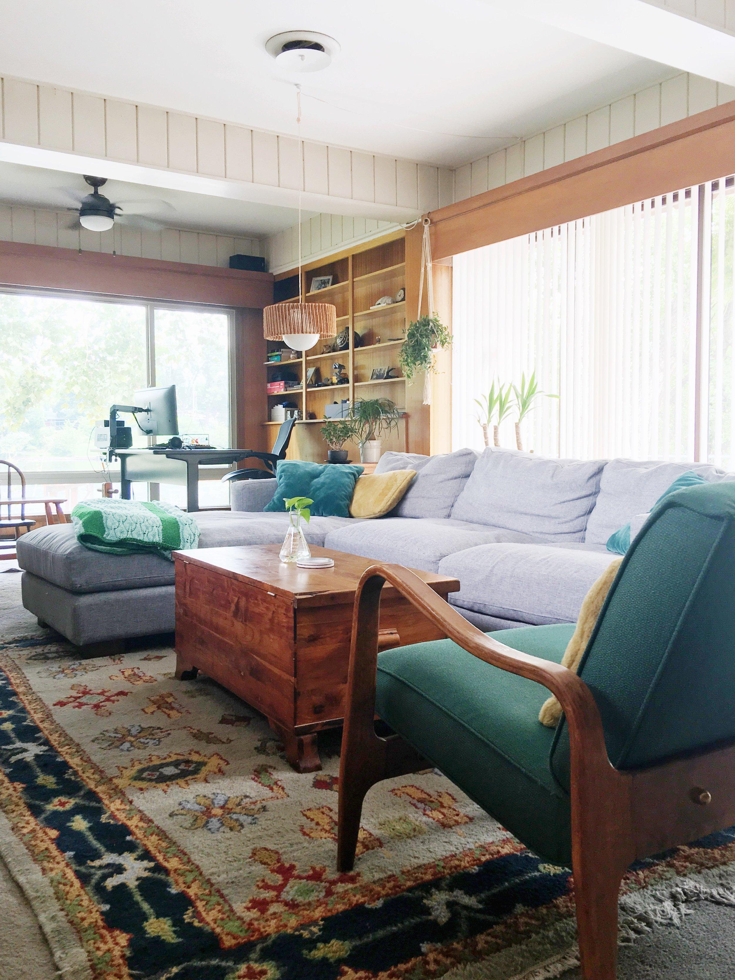 mid century wood paneled den