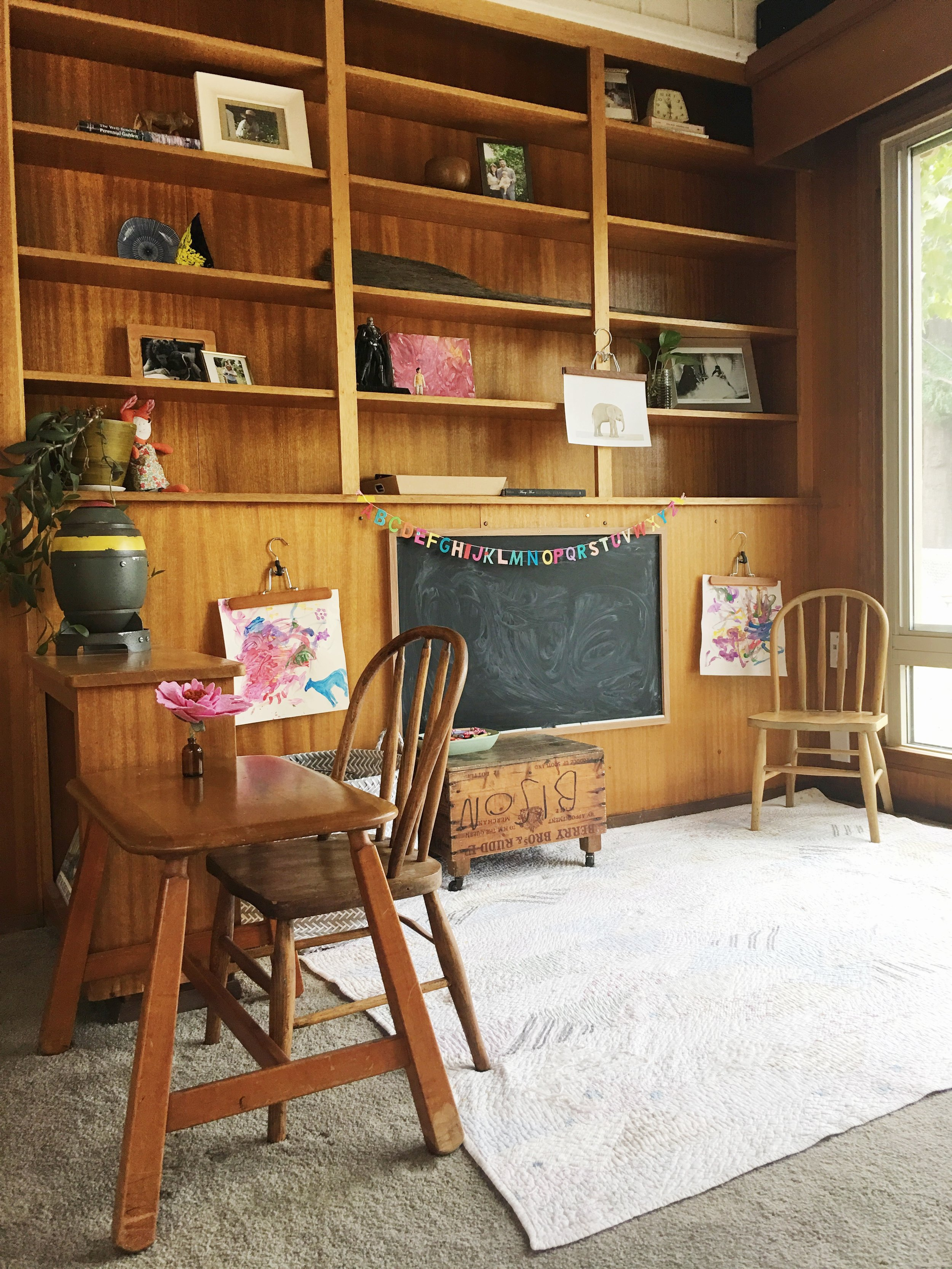 modern wood paneling play room