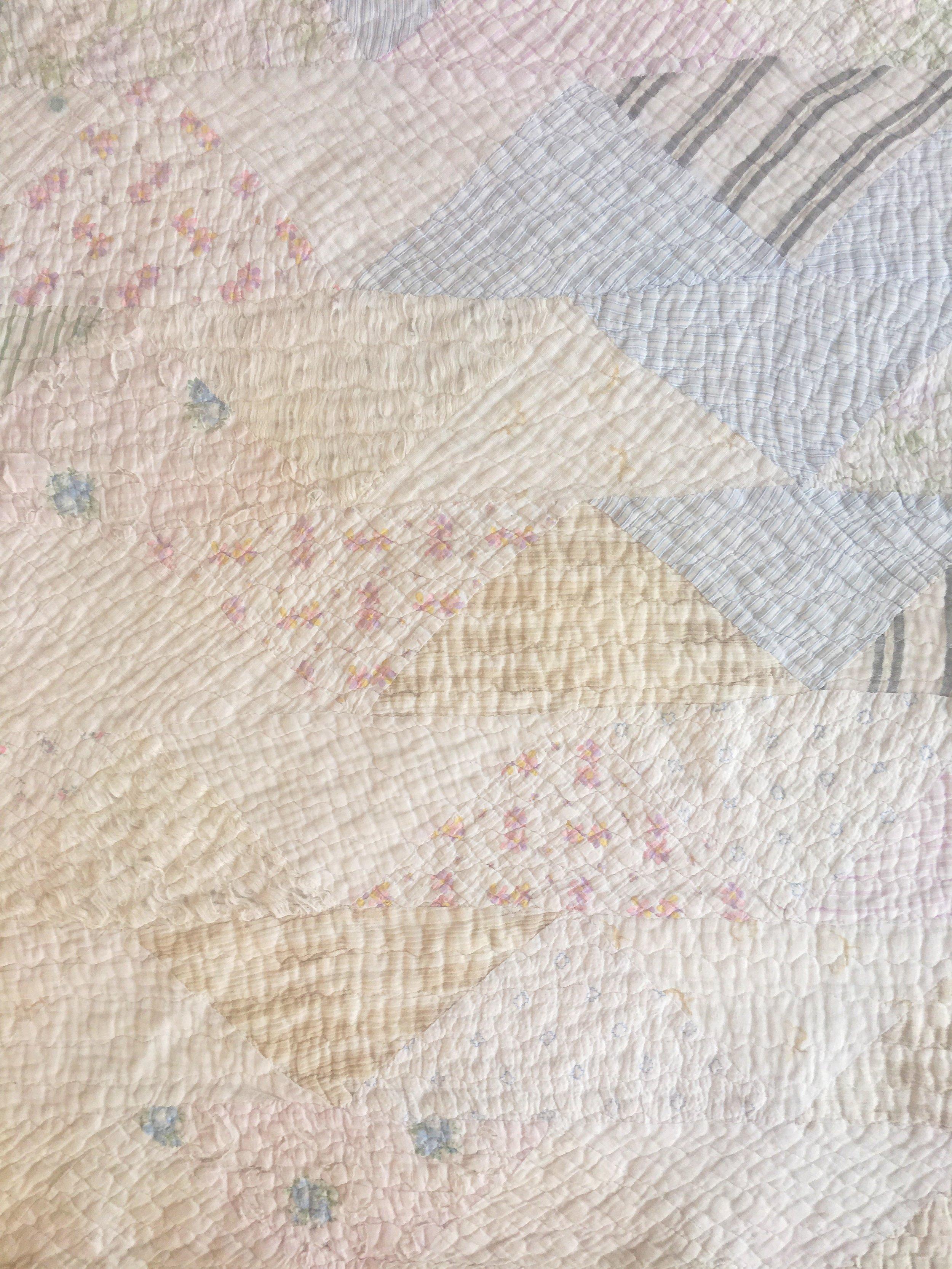 Worn vintage quilt I picked up at the  Tulsa Flea Market.