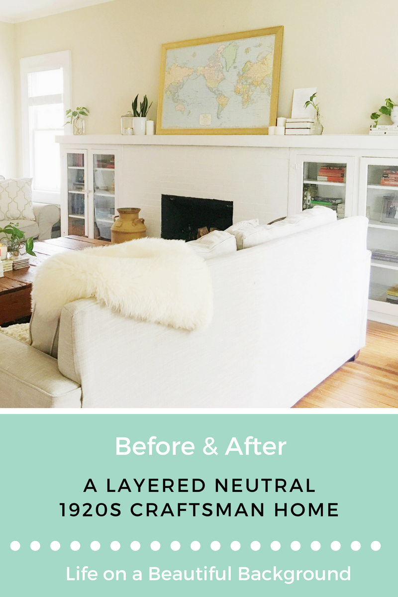 layered neutral home before and after